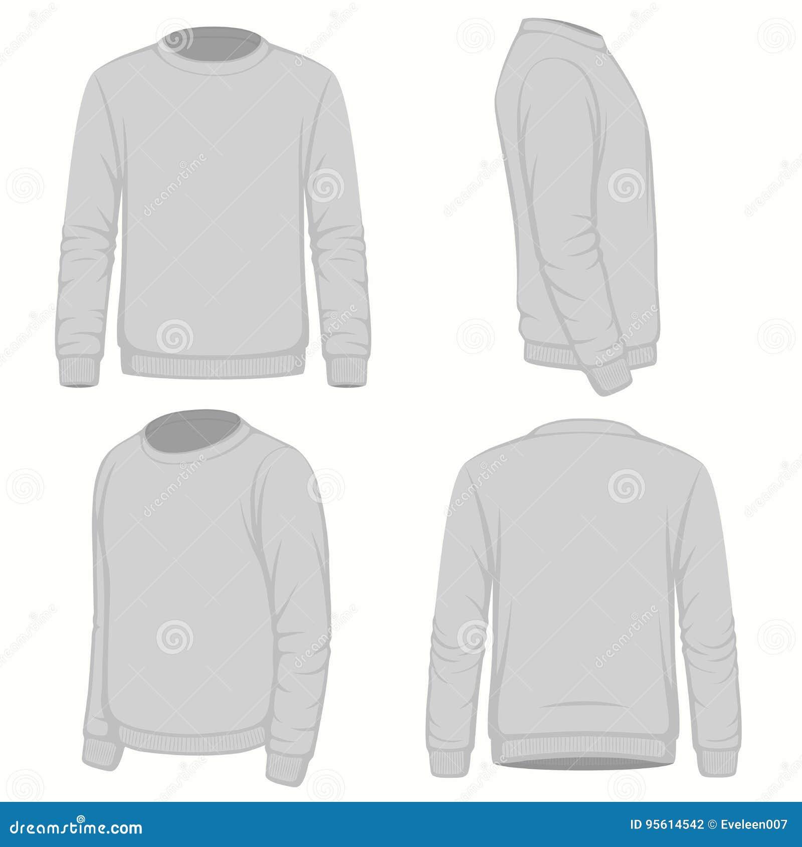 Afronte, traseras y laterales las vistas del suéter con capucha