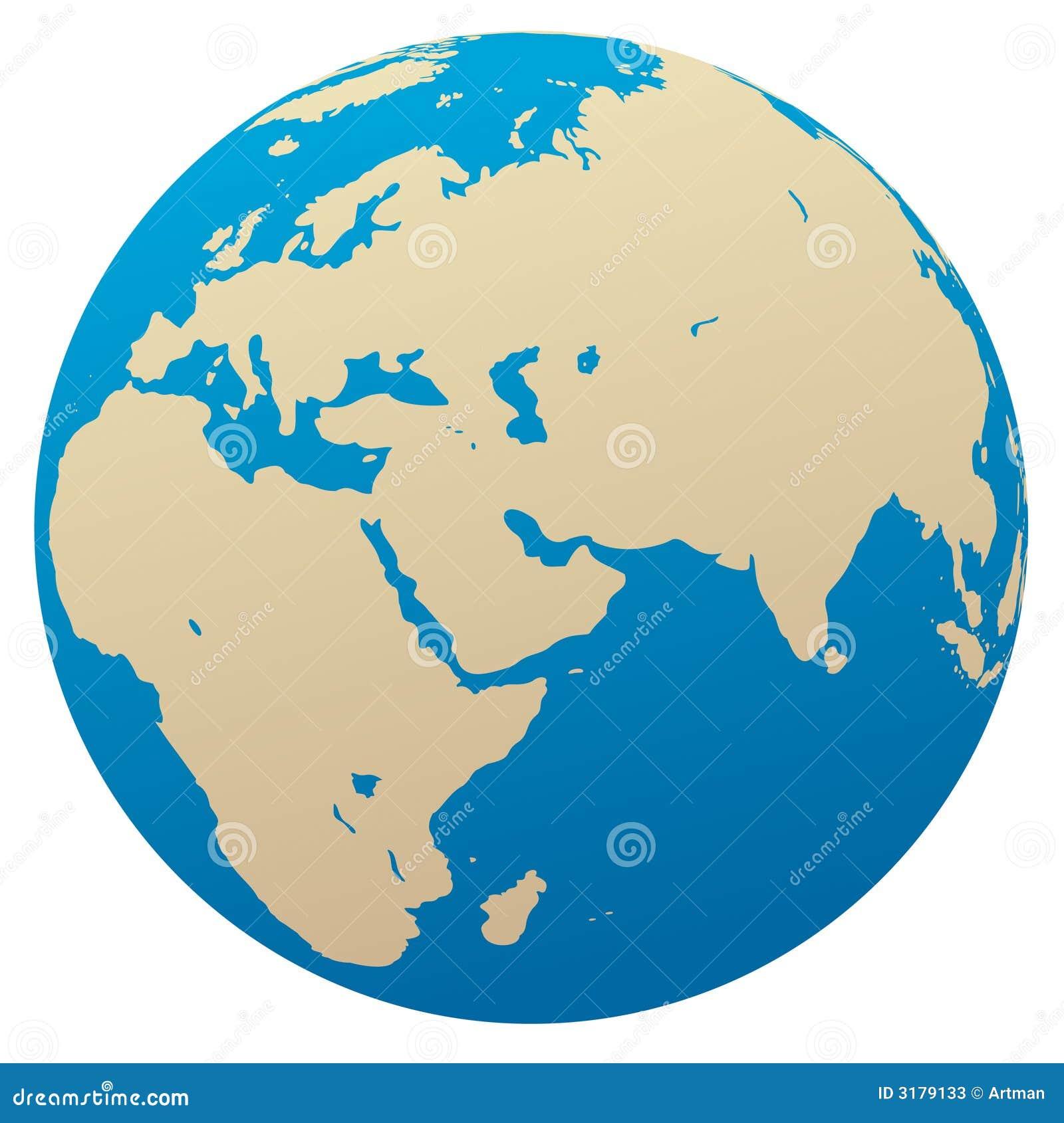 Afryce Eurazja globe wektora