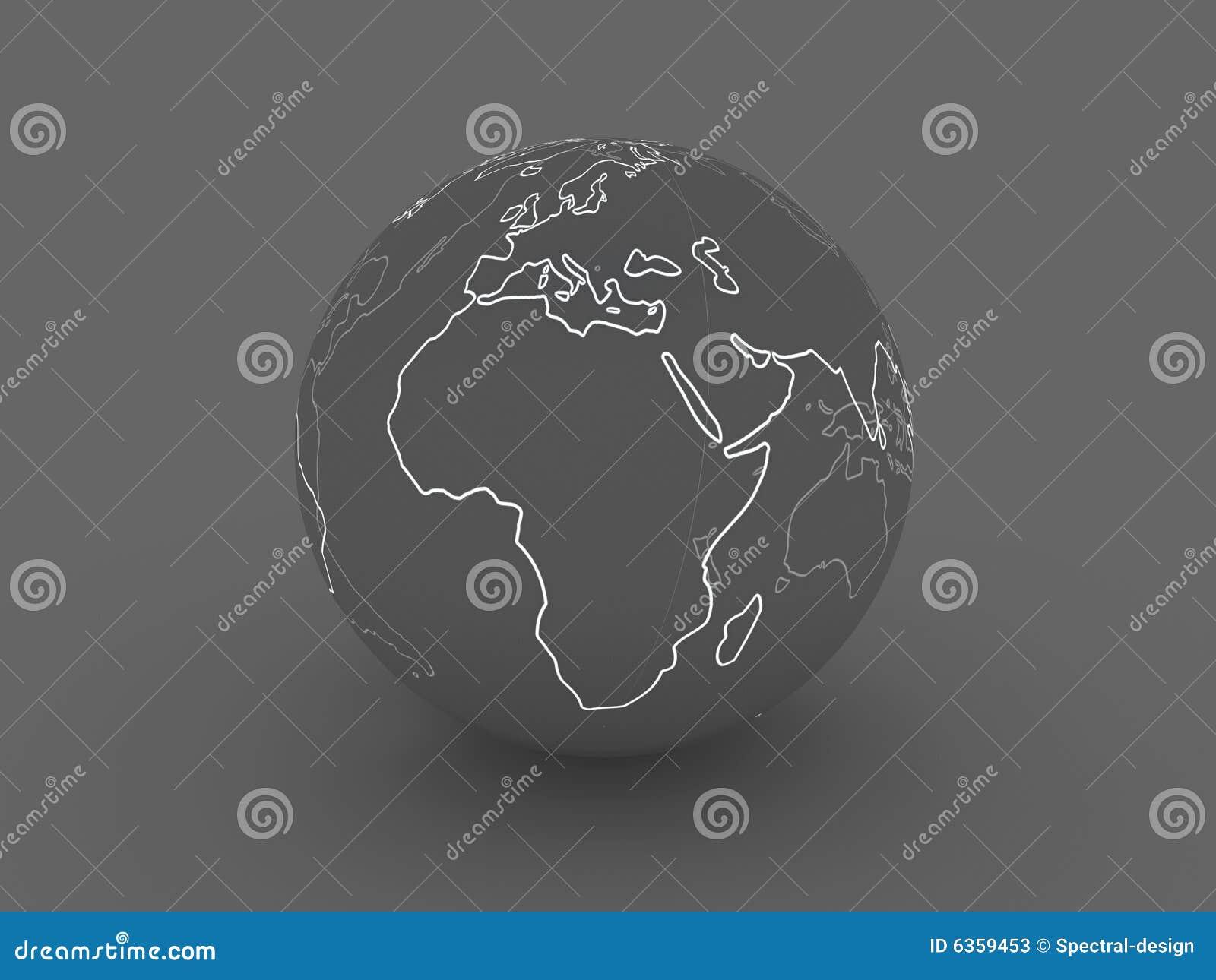 Afryce Europę ciemnej kulę