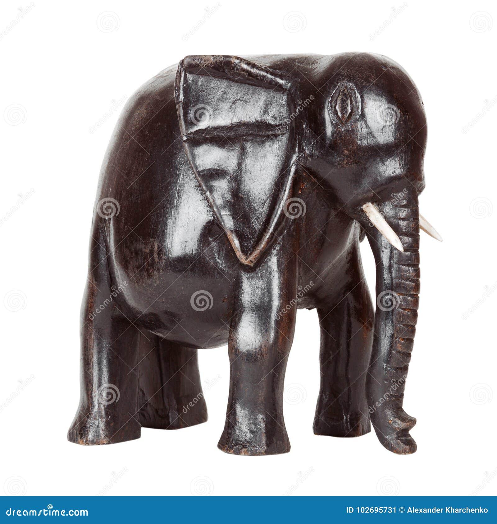 Afrykańska Antykwarska Czarna heban statua słoń