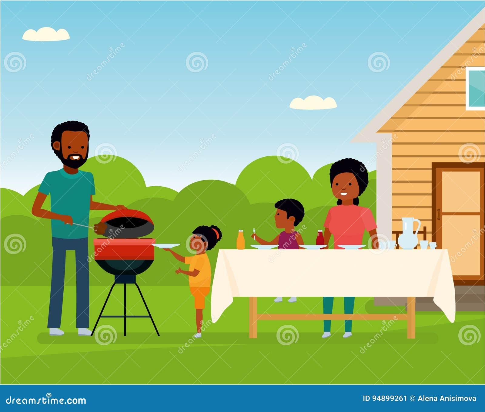 Afrykańska Szczęśliwa rodzina przygotowywa grilla grilla outdoors Rodzinny czas wolny