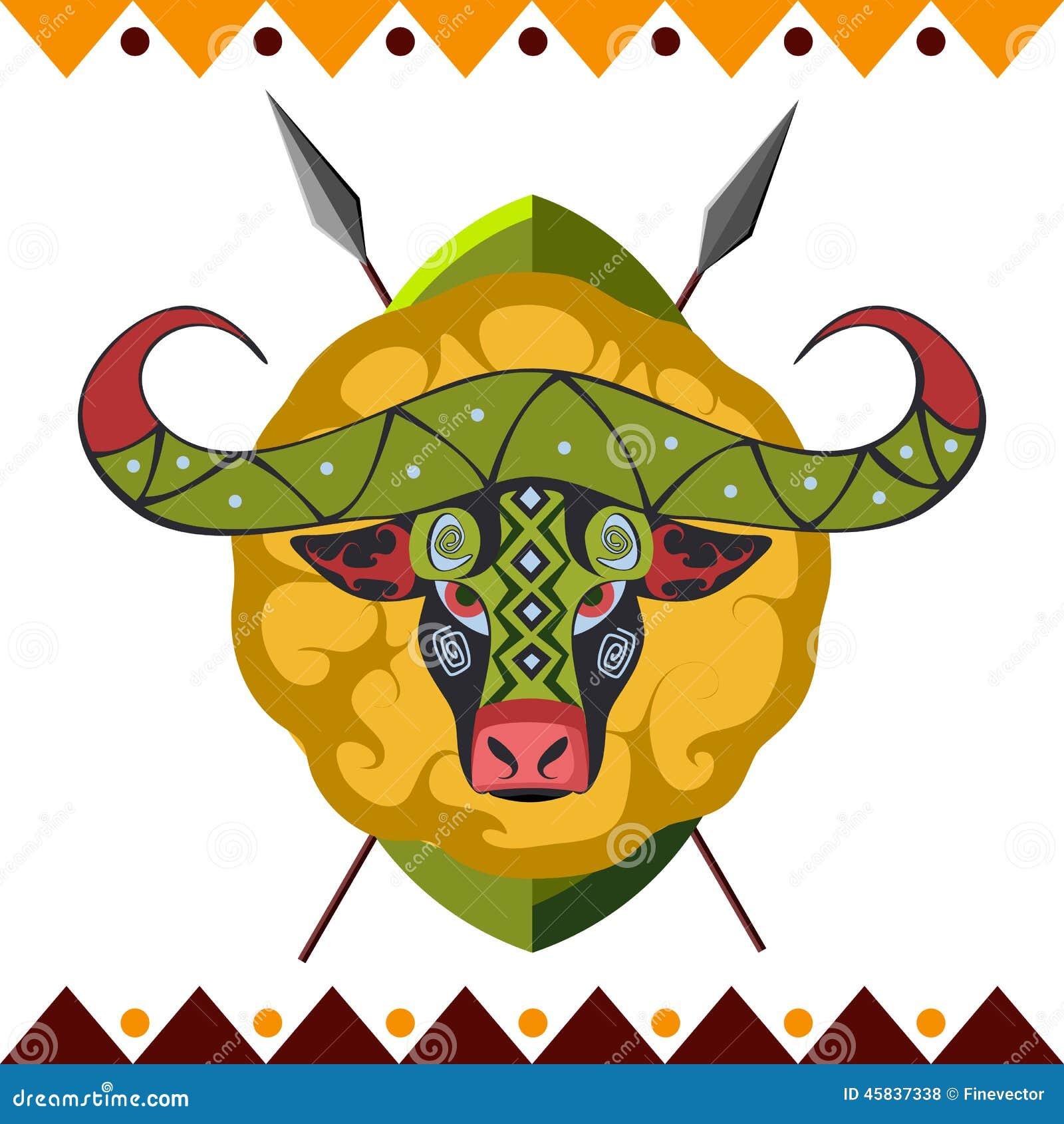 Afrykański bizon Afryka zwierzę w koloru wzoru wektoru ilustraci