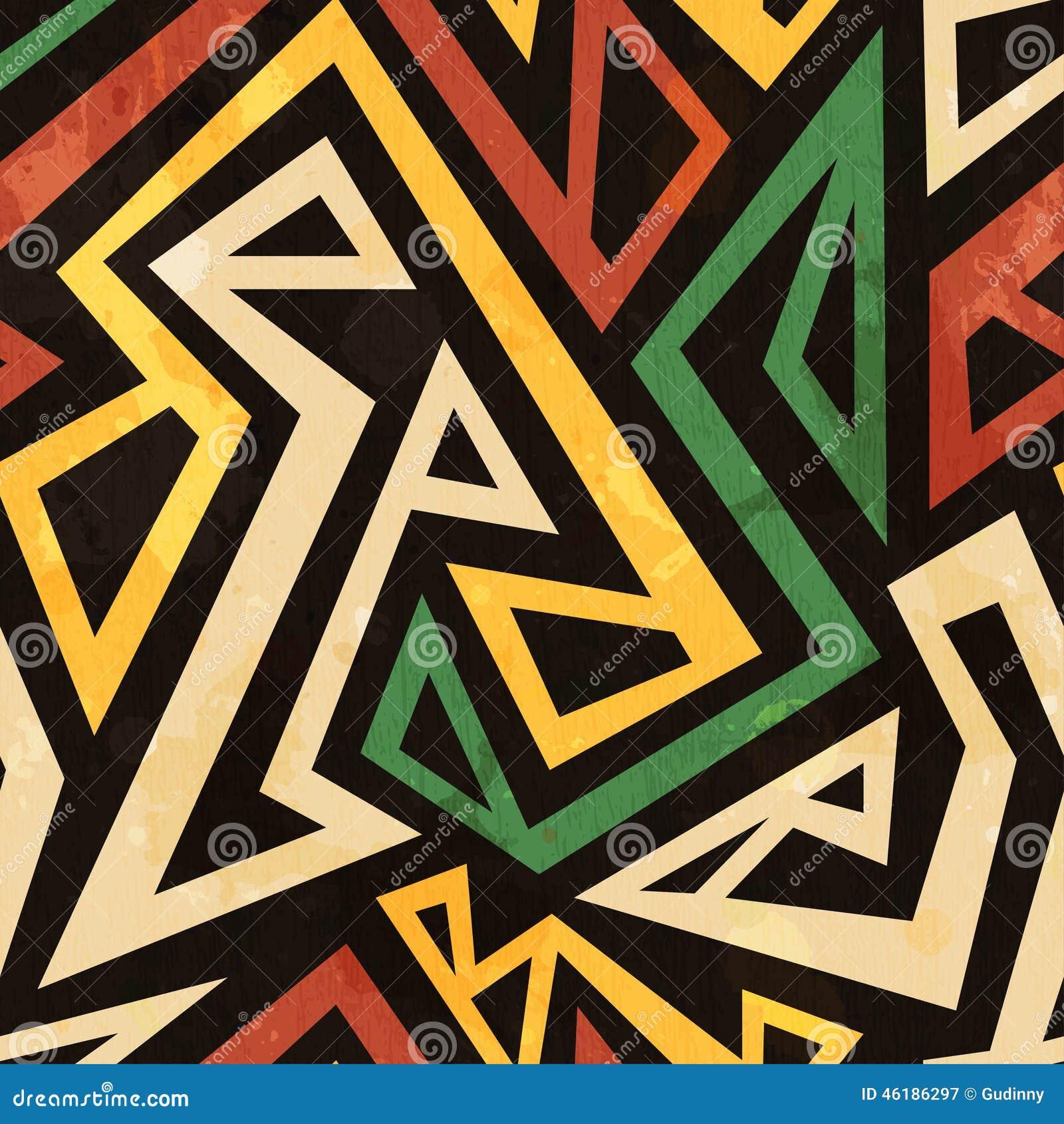 Afrykański geometryczny bezszwowy wzór z grunge skutkiem