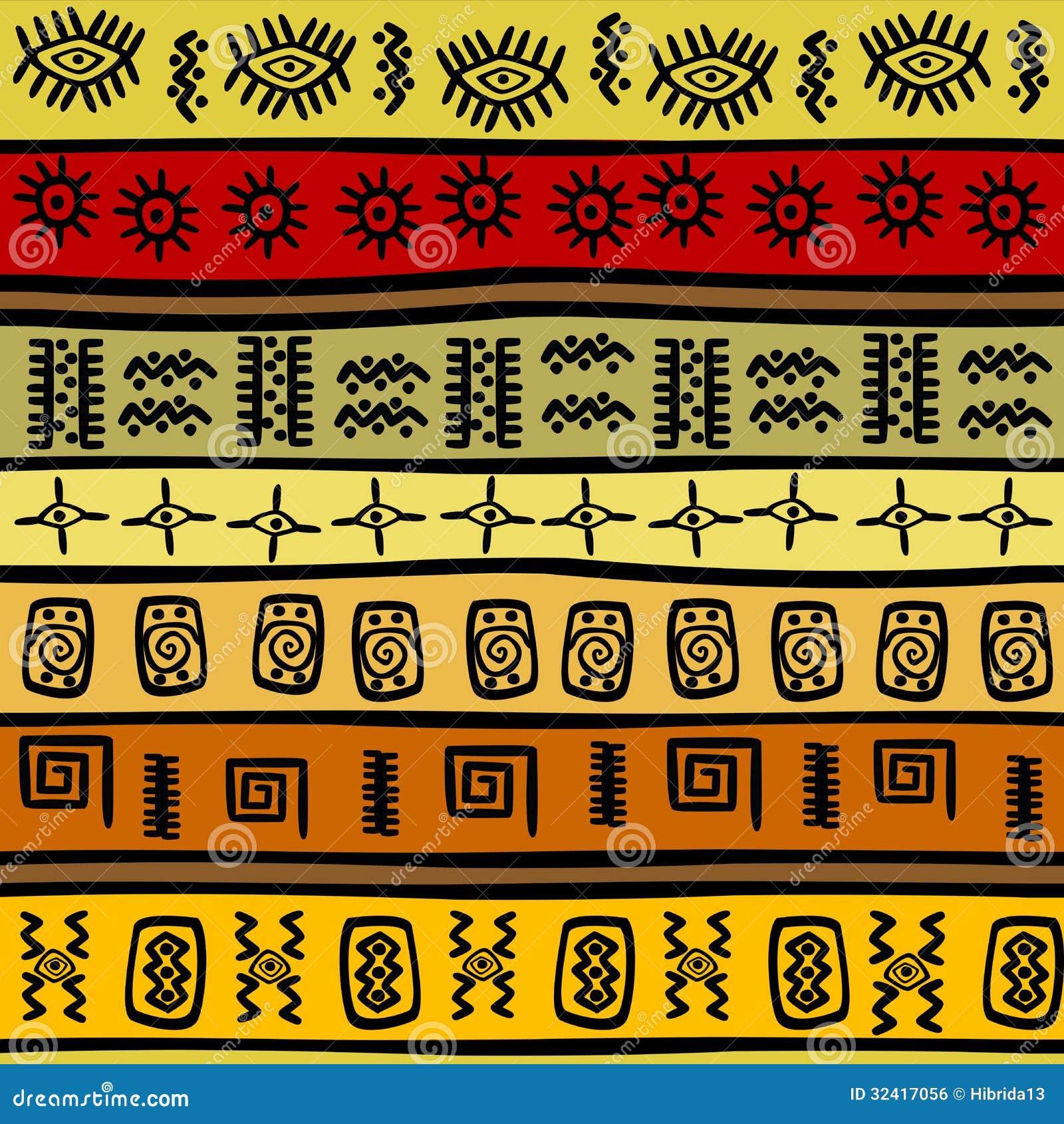 Afrykański pociągany ręcznie etniczny wzór, plemienny backgrou