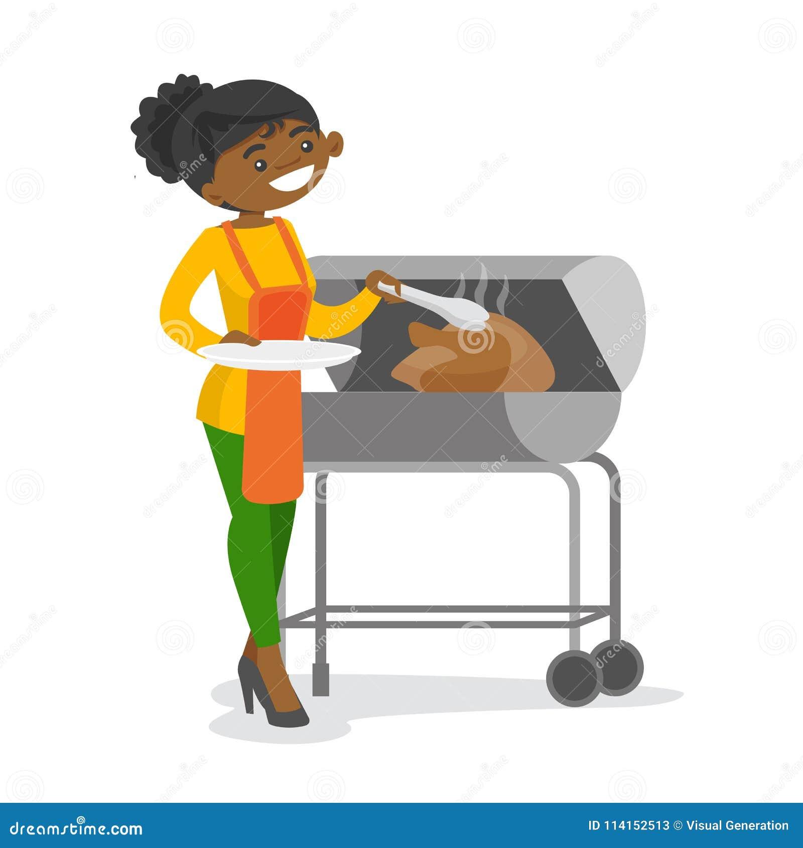 Afrykańskiej kobiety kulinarny kurczak na grillu