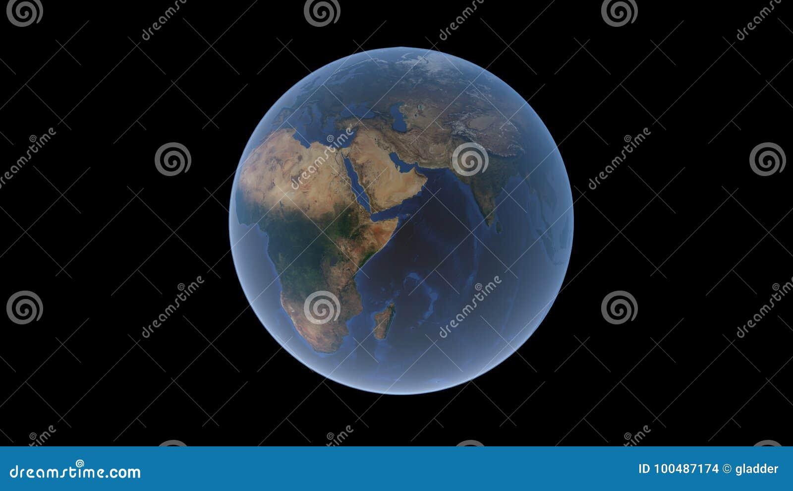 Afryka i Eurasia na piłce ziemia półwysep arabski w centrum, odosobniona kula ziemska, 3D rendering