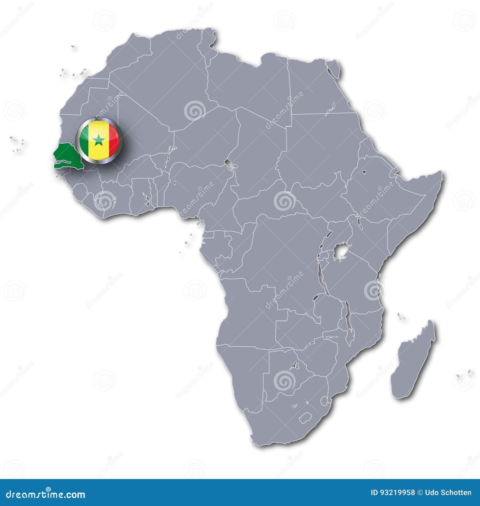 Afryka Mapa I Senegal Ilustracji Ilustracja Zlozonej Z Ikona
