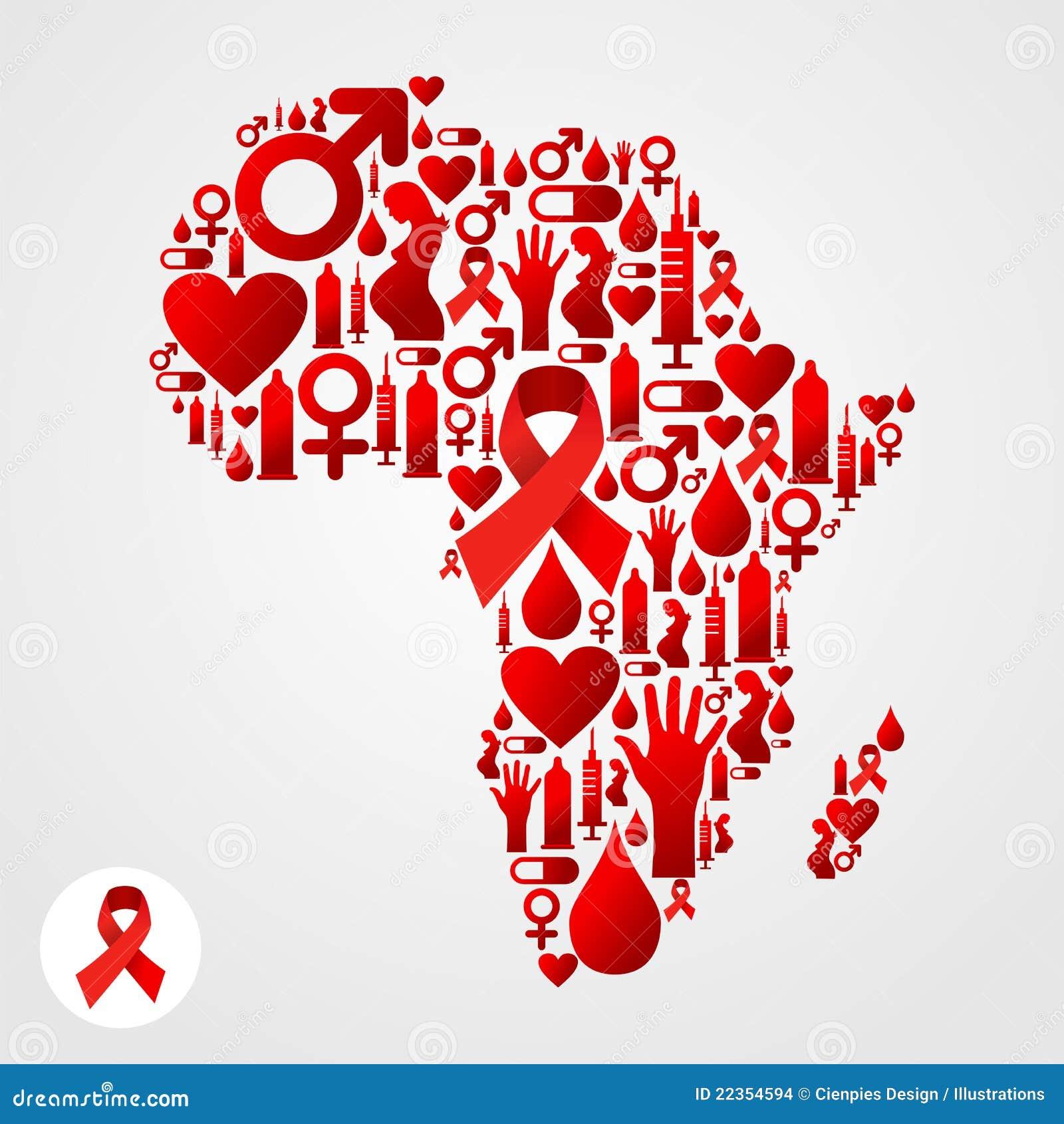 Afryka mapy symbol z POMOCY ikonami