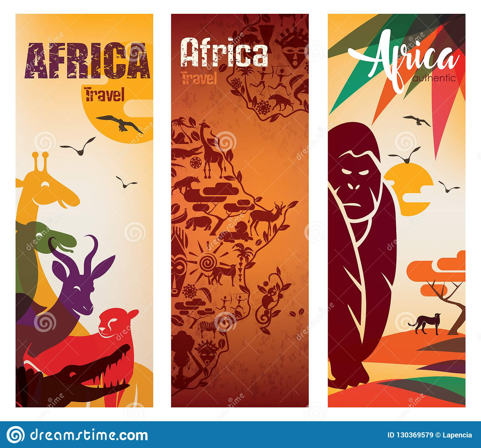 Afryka podróży tło ustawiający ulotka szablon