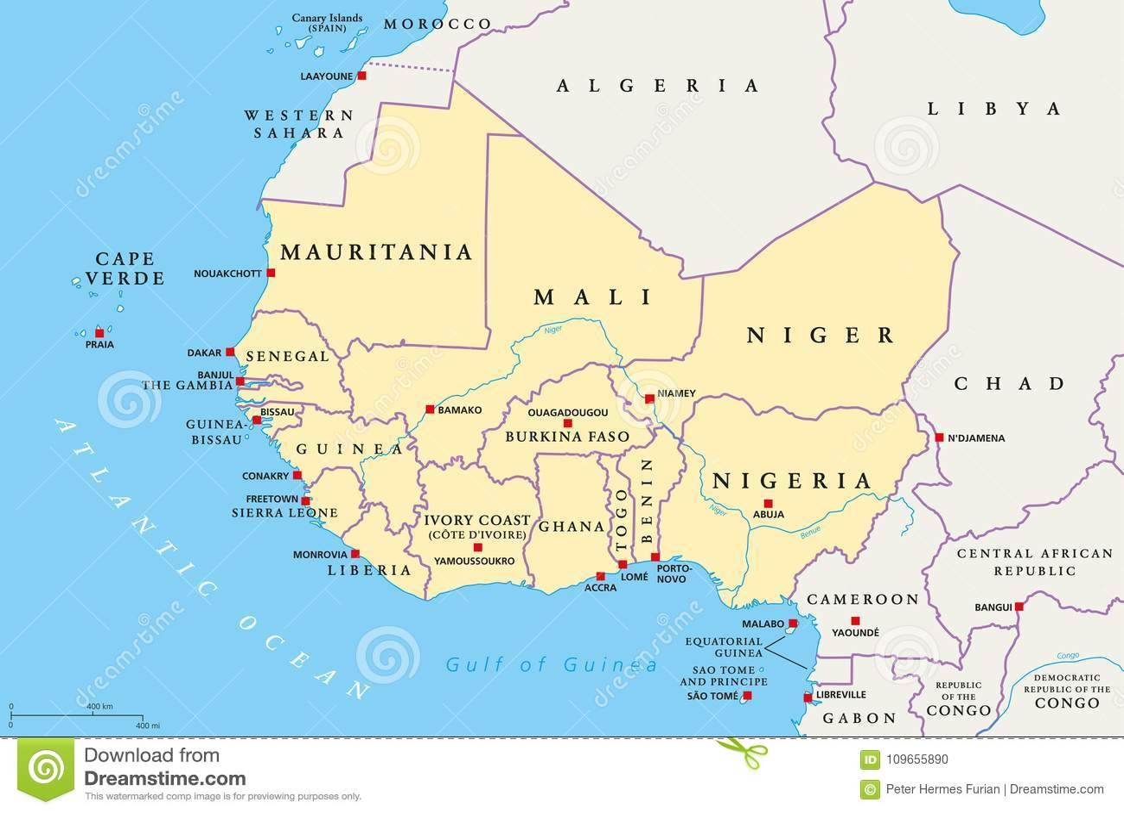 Afryka Zachodnia Region Polityczna Mapa Ilustracja Wektor