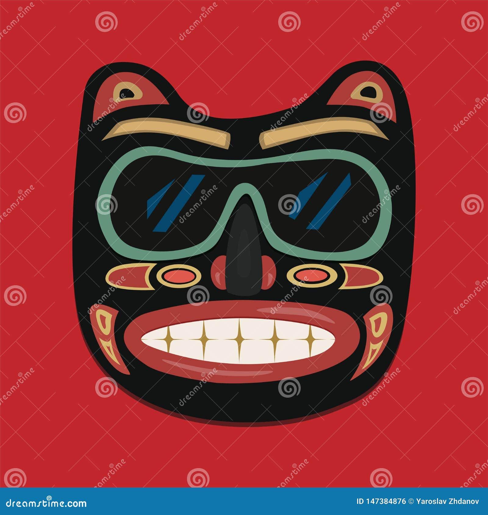 Afrykanin maska na czerwonym tle jest mo?e projektant wektor evgeniy grafika niezale?ny kotelevskiy przedmiota orygina??w wektor