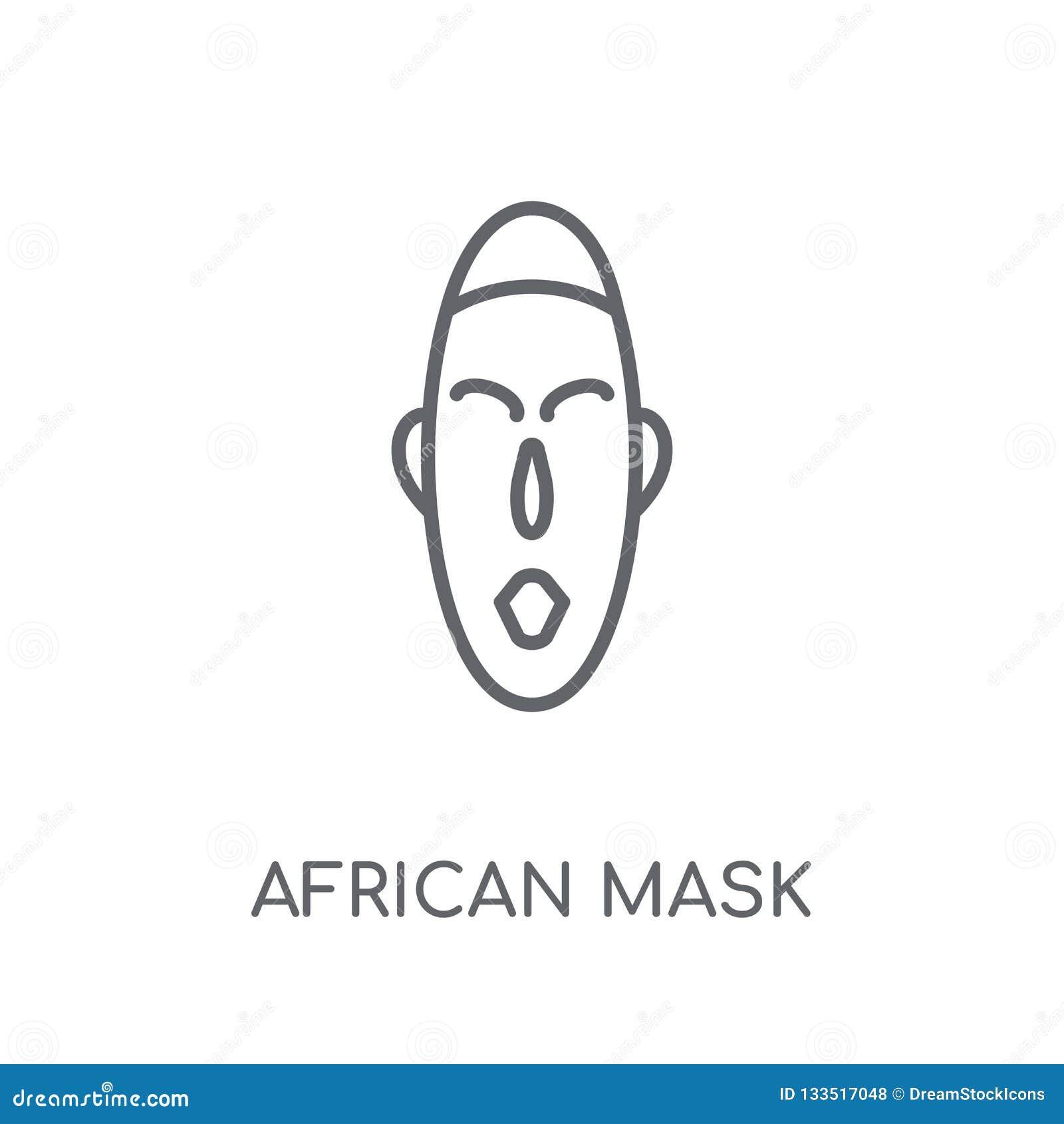 Afrykanin maskowa liniowa ikona Nowożytny konturu afrykanina maski logo conce