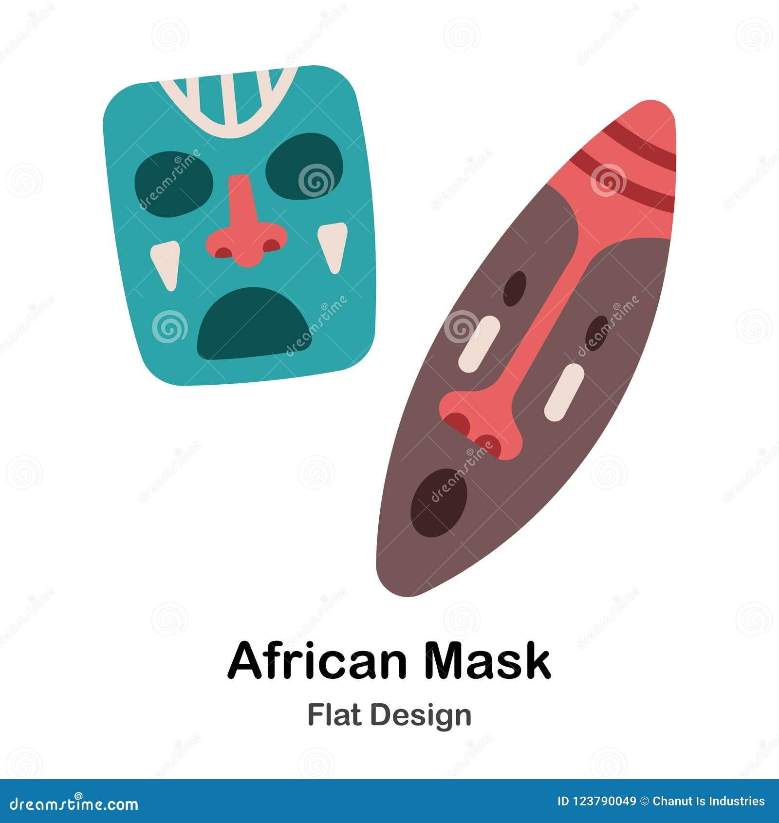 Afrykanin Maskuje Płaską ikonę