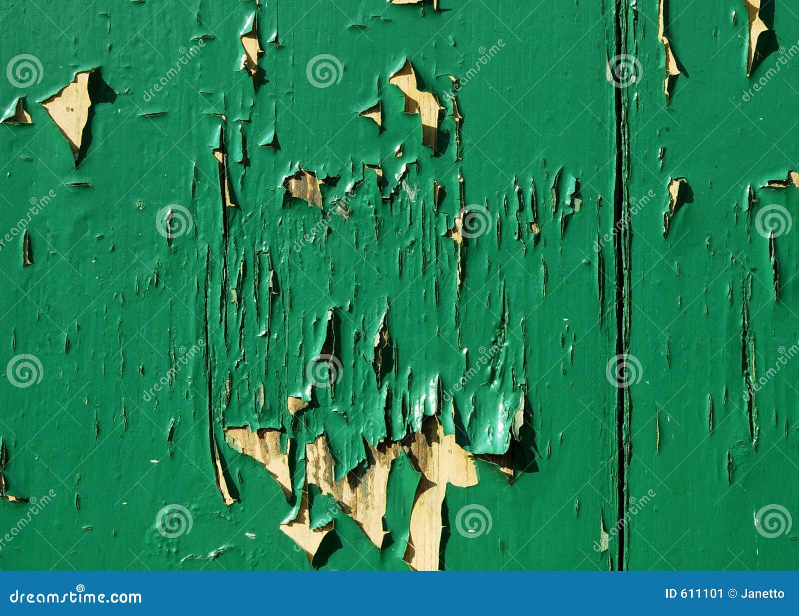 Afschilferende groene verf