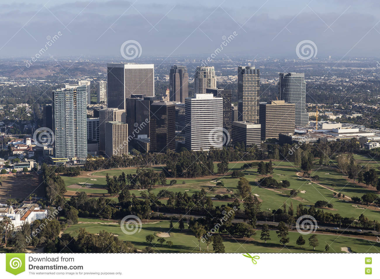 Afternoon Aerial View Of Century City In Los Angeles California ...