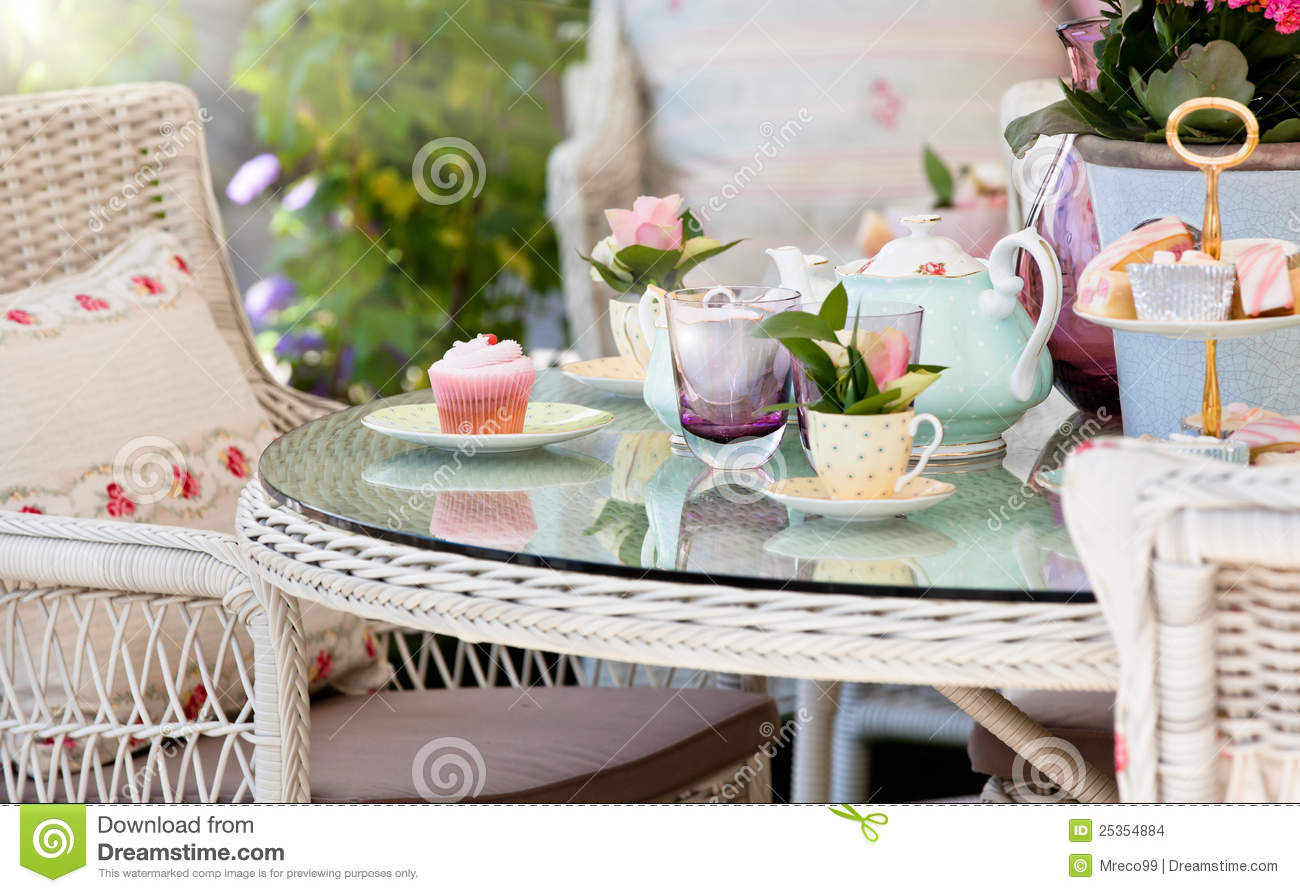 Afternoon Tea And Cakes In The Garden Stock Images Image