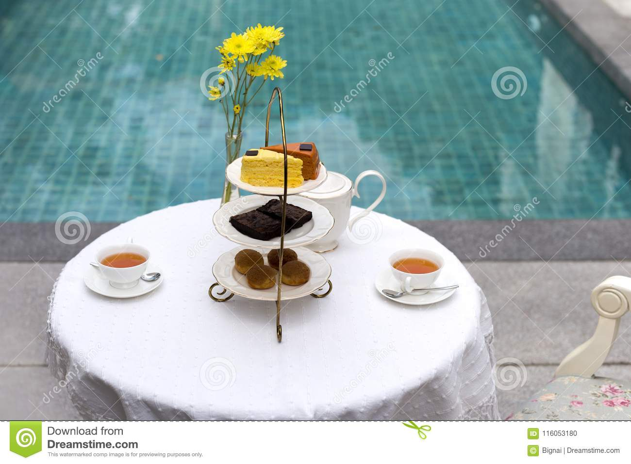Afternoon Tea With Cup Of Tea And Teapot On Table With ...
