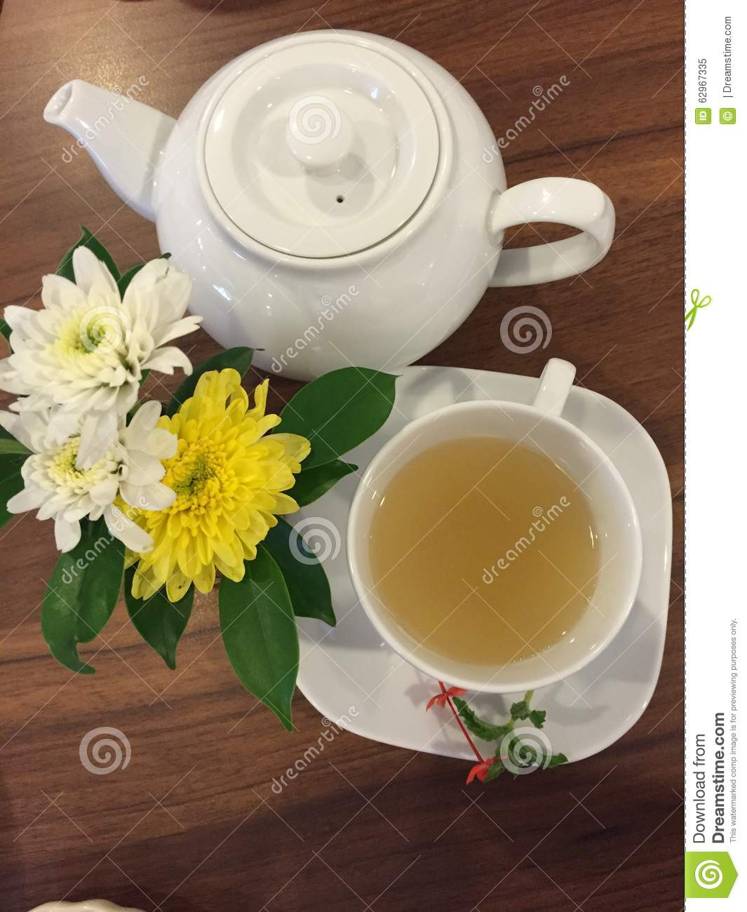 Afternoon Tea With Flowers And Good Friend Stock Image Image Of