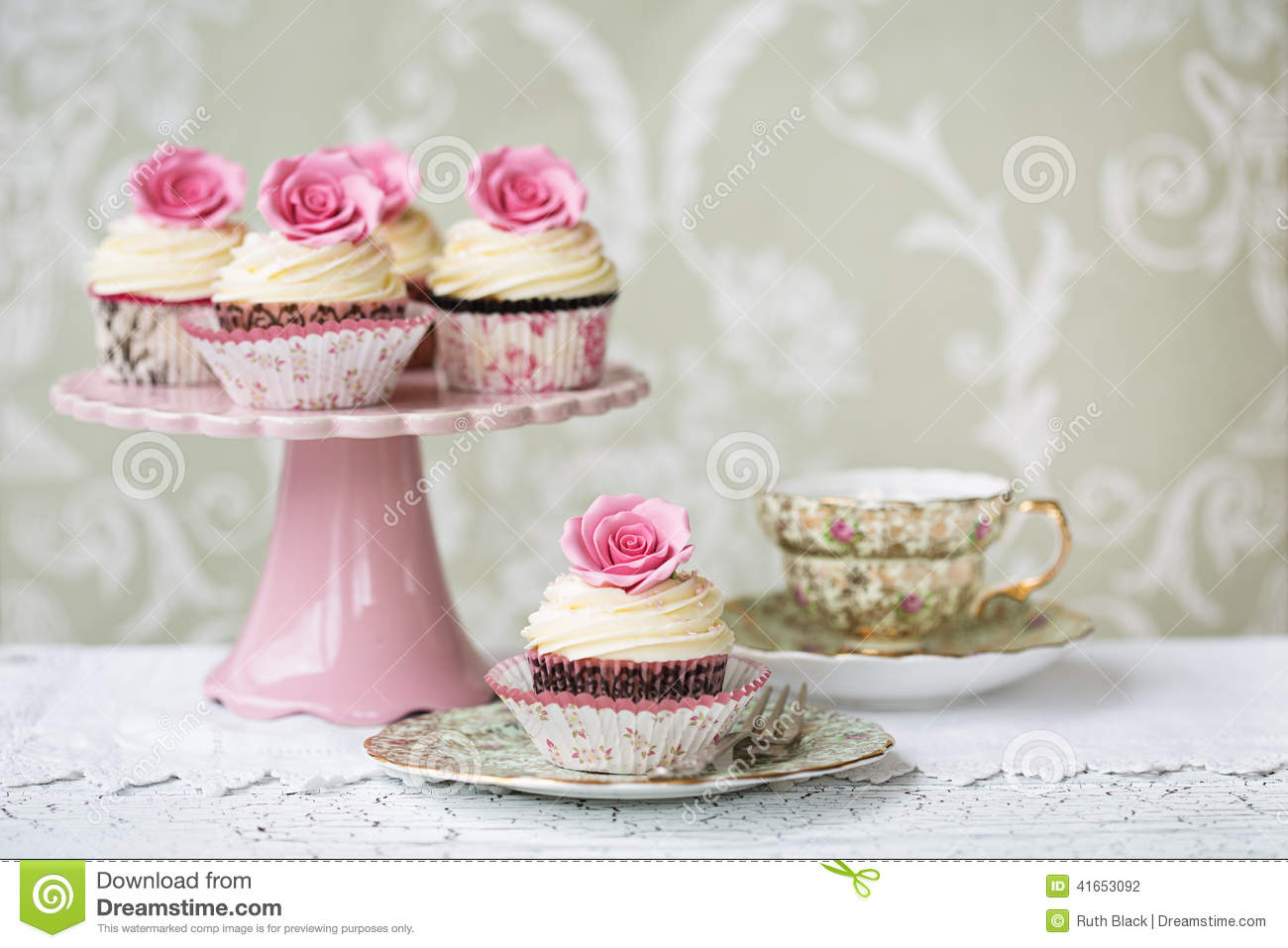 Afternoon Tea With Rose Cupcakes Stock Photo Image 41653092