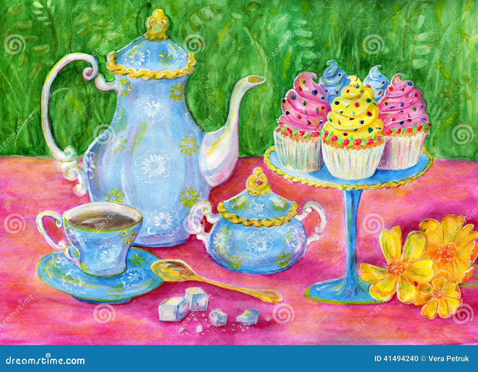 Afternoon Tea Stock Illustration Illustration Of Holiday