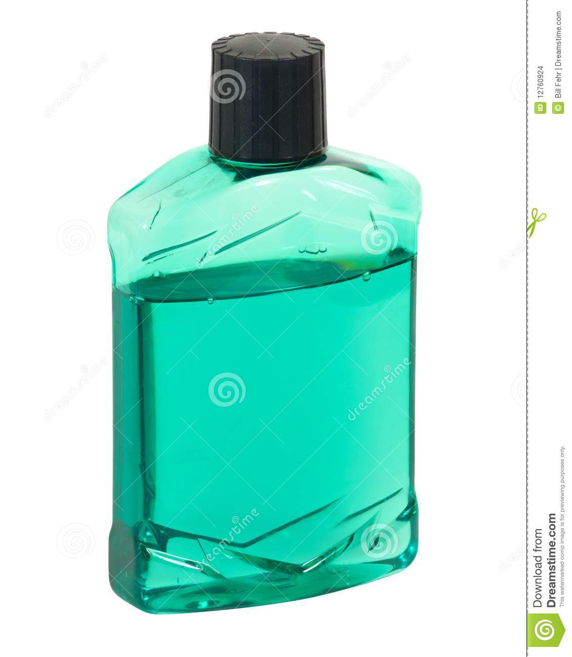 Plastic bottle with green aftershave or pre-shave lotion. Clipping ...