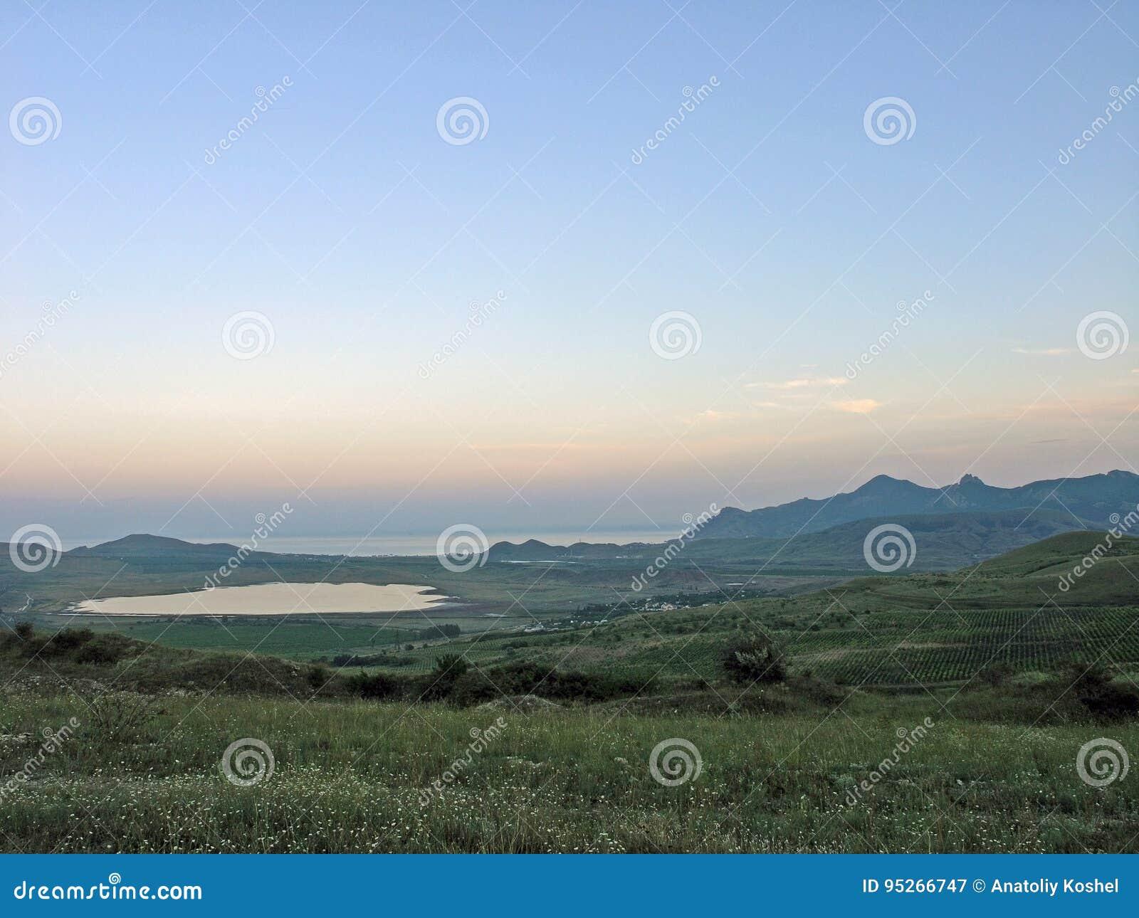 Afton efter solnedgång Black Sea crimea