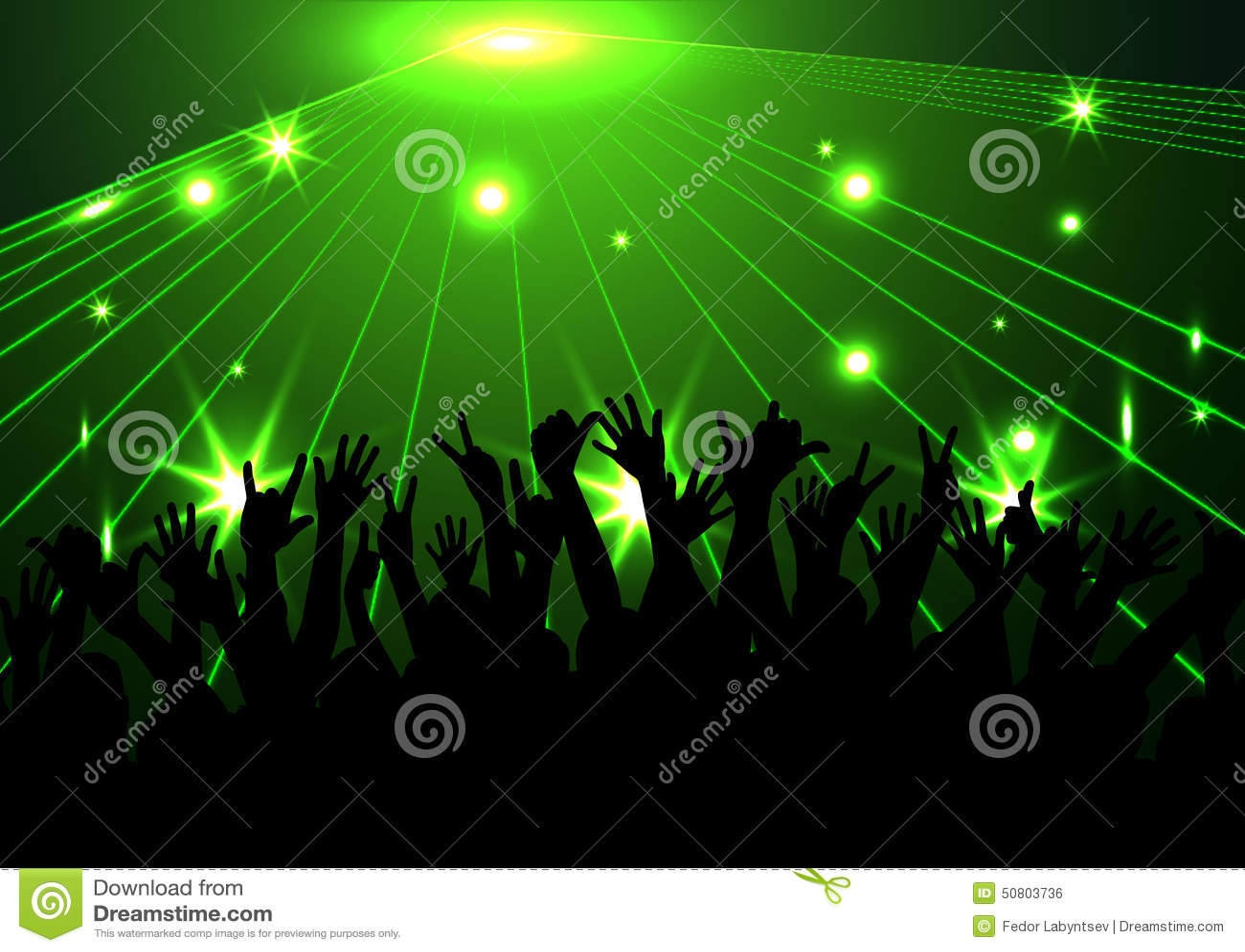 Afton i nattklubb folk mot färgbelysning