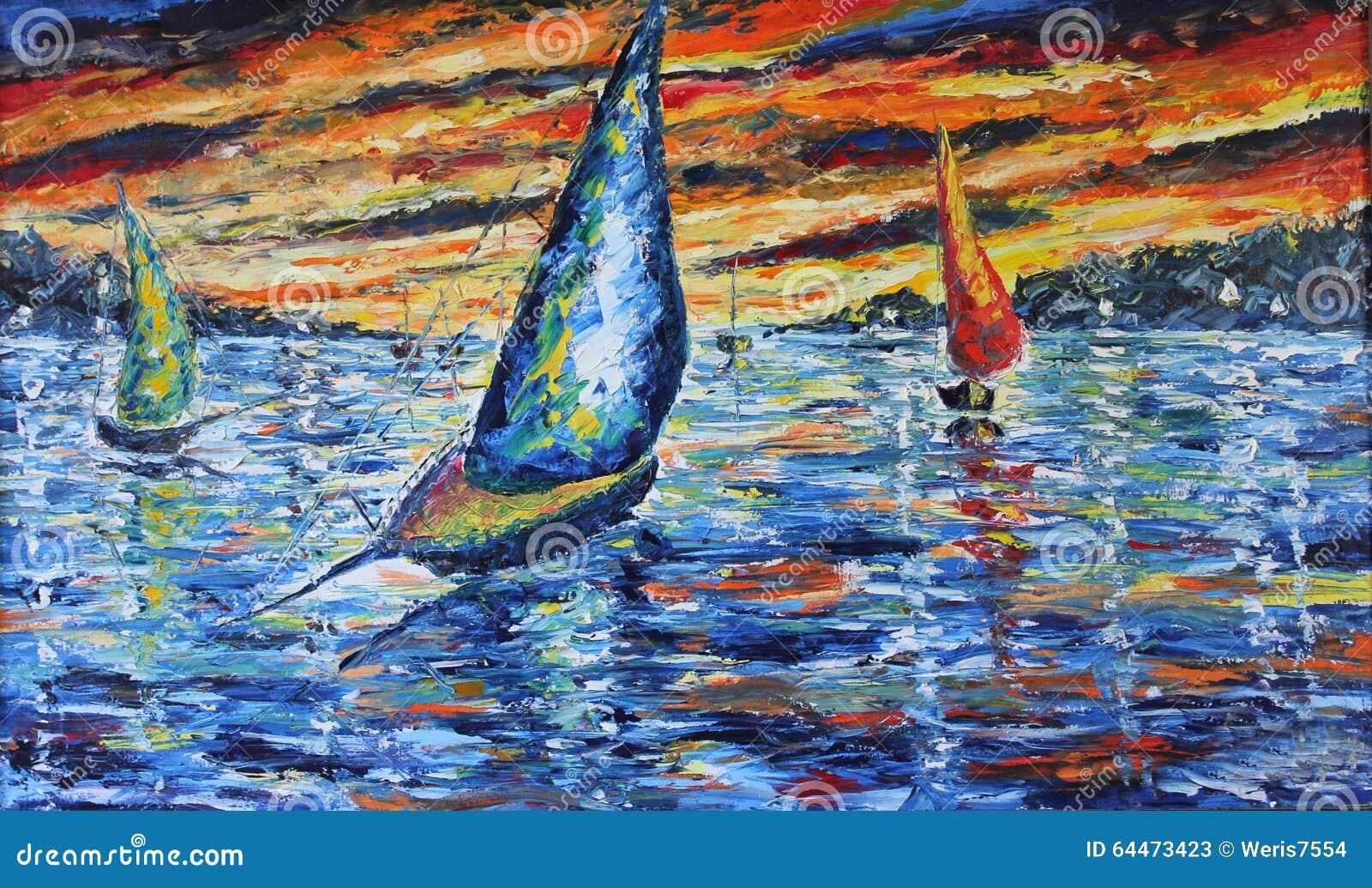 Aftonfartyget snubblar, solnedgången över sjön, olje- målning