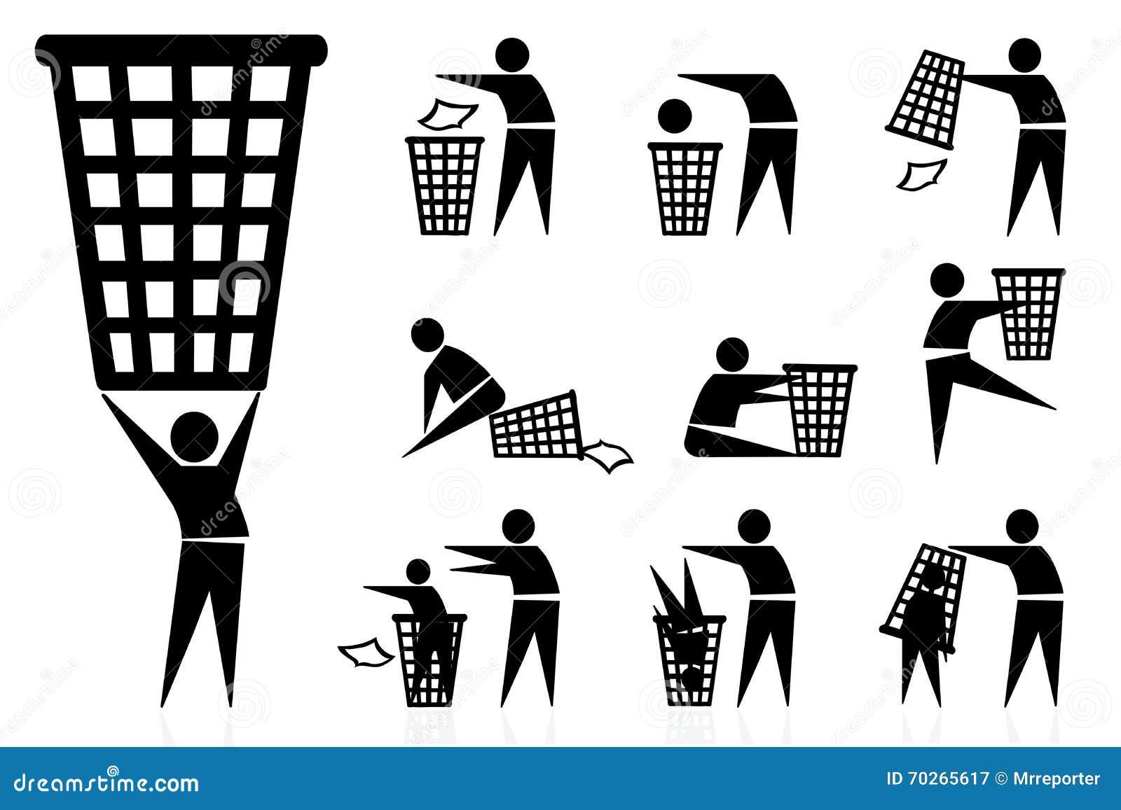 Afval-bak, pictogrammen