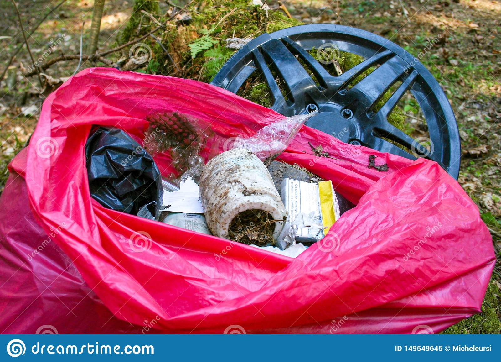 Afval, huisvuil en plastiek in een bos, verontreiniging