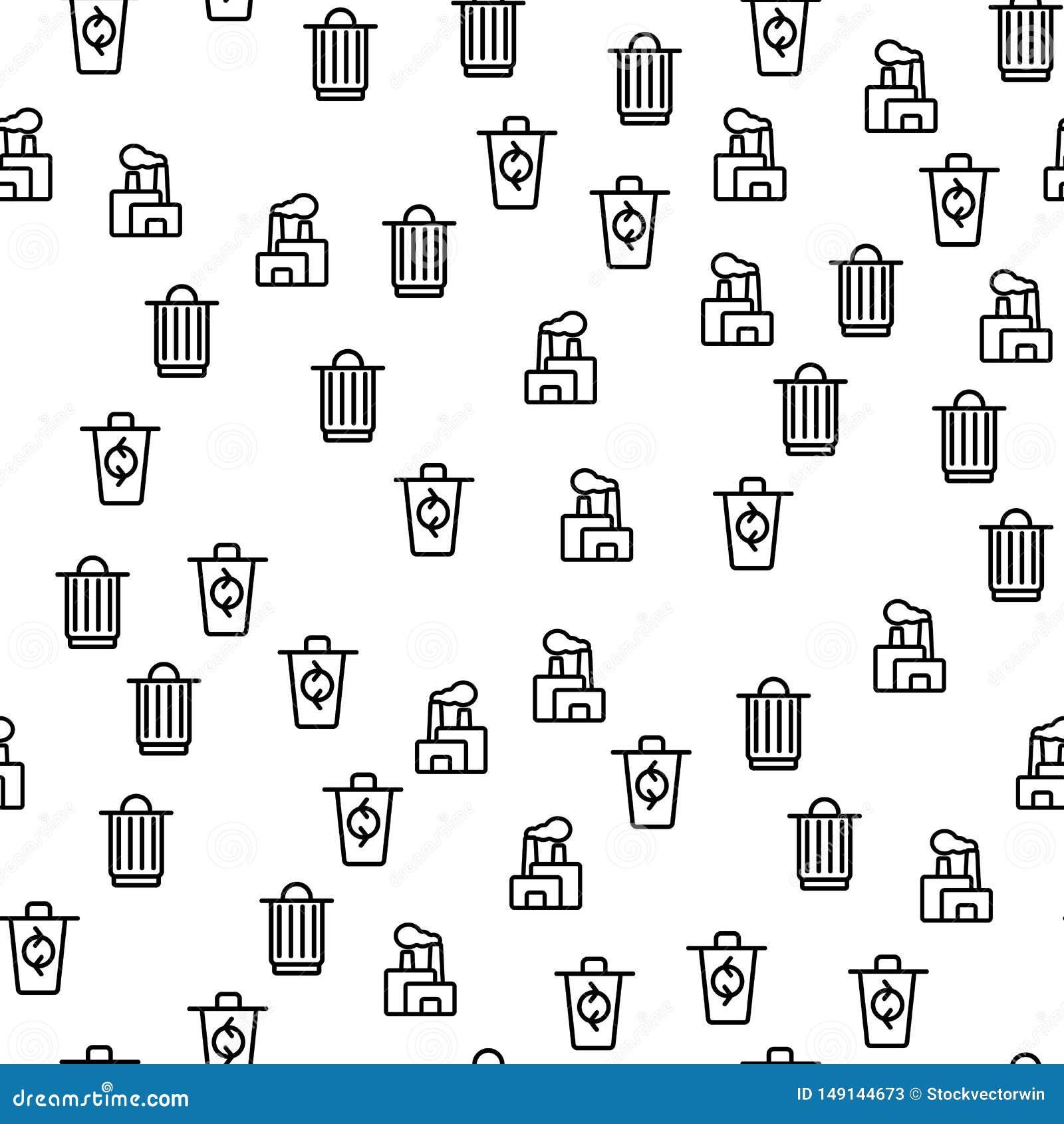 Afvalproces die Naadloze Patroonvector recycleren