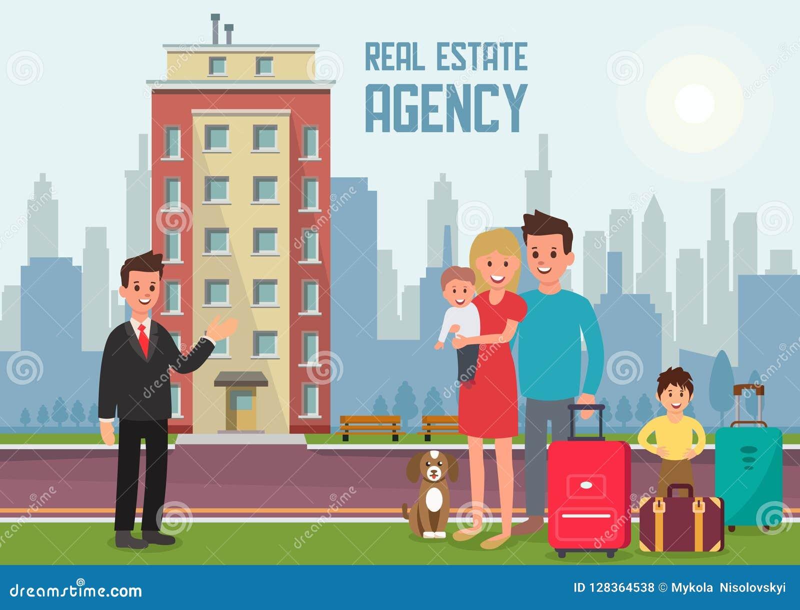 Agência imobiliária real Ilustração lisa do vetor
