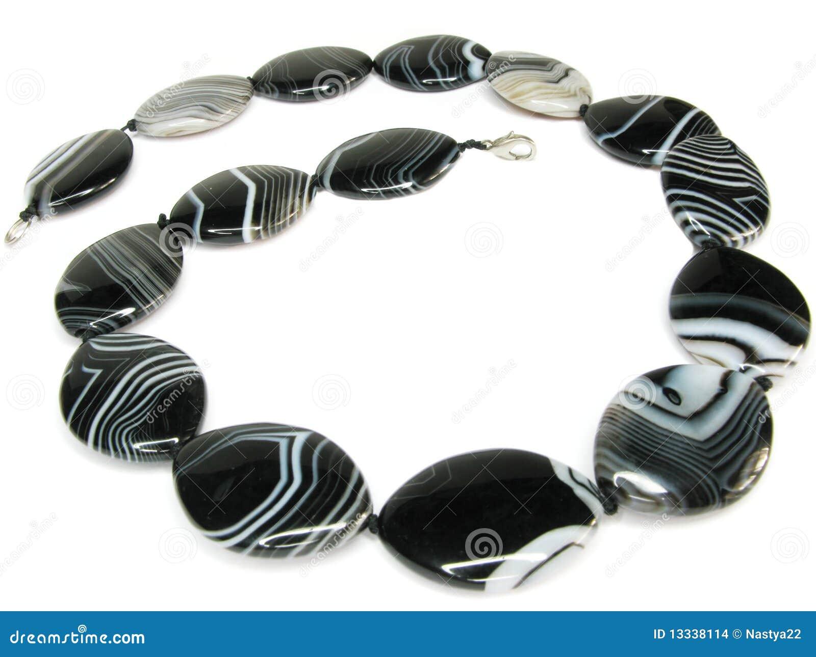 Agatów koraliki czernić biel