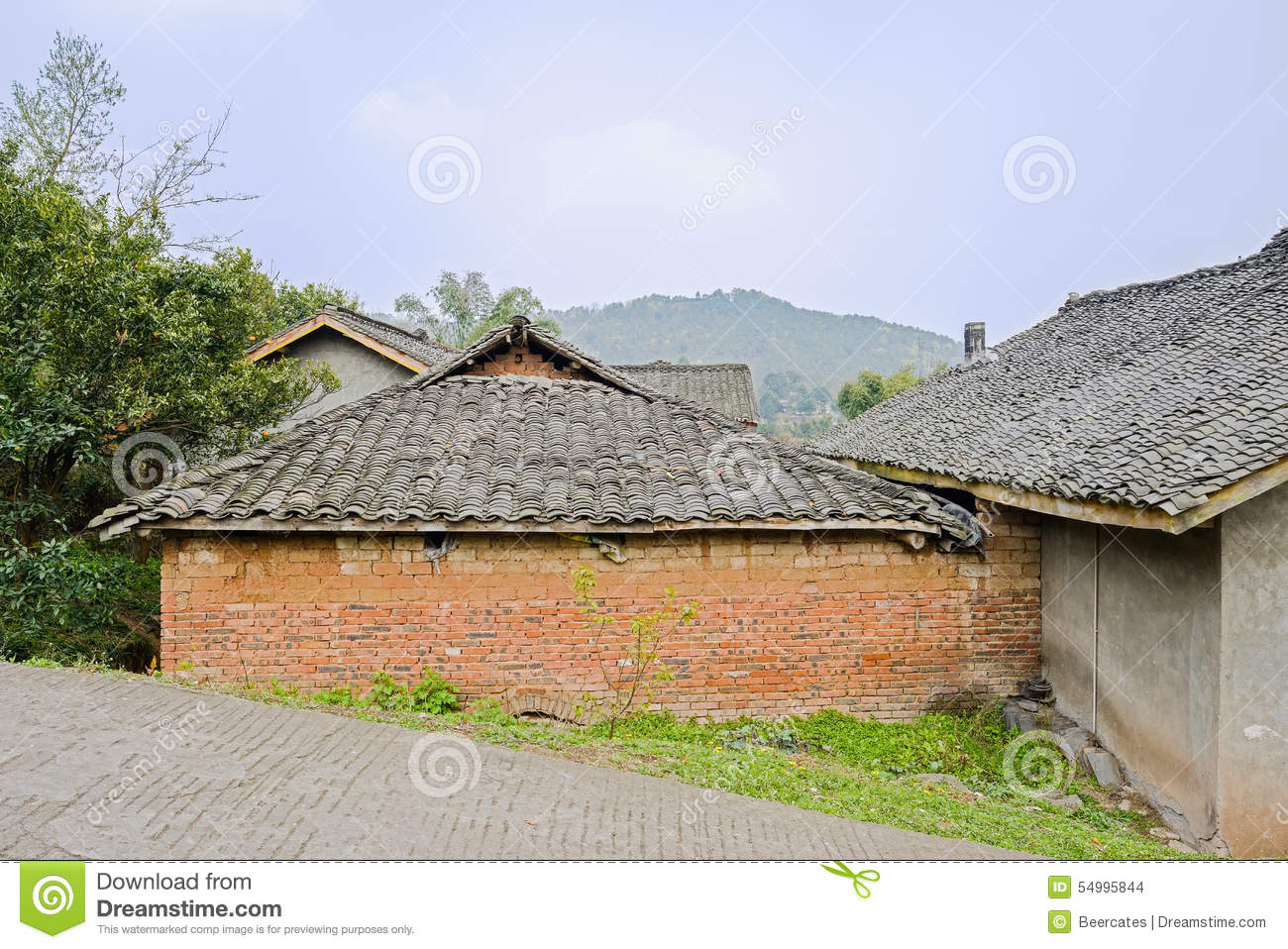 Aged Chinese farmhouses by slopy countryroad in sunny spring