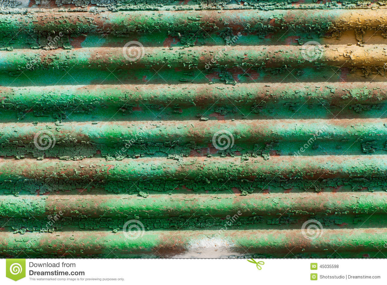 Green Corrugated Peeling Metal Background Royalty Free