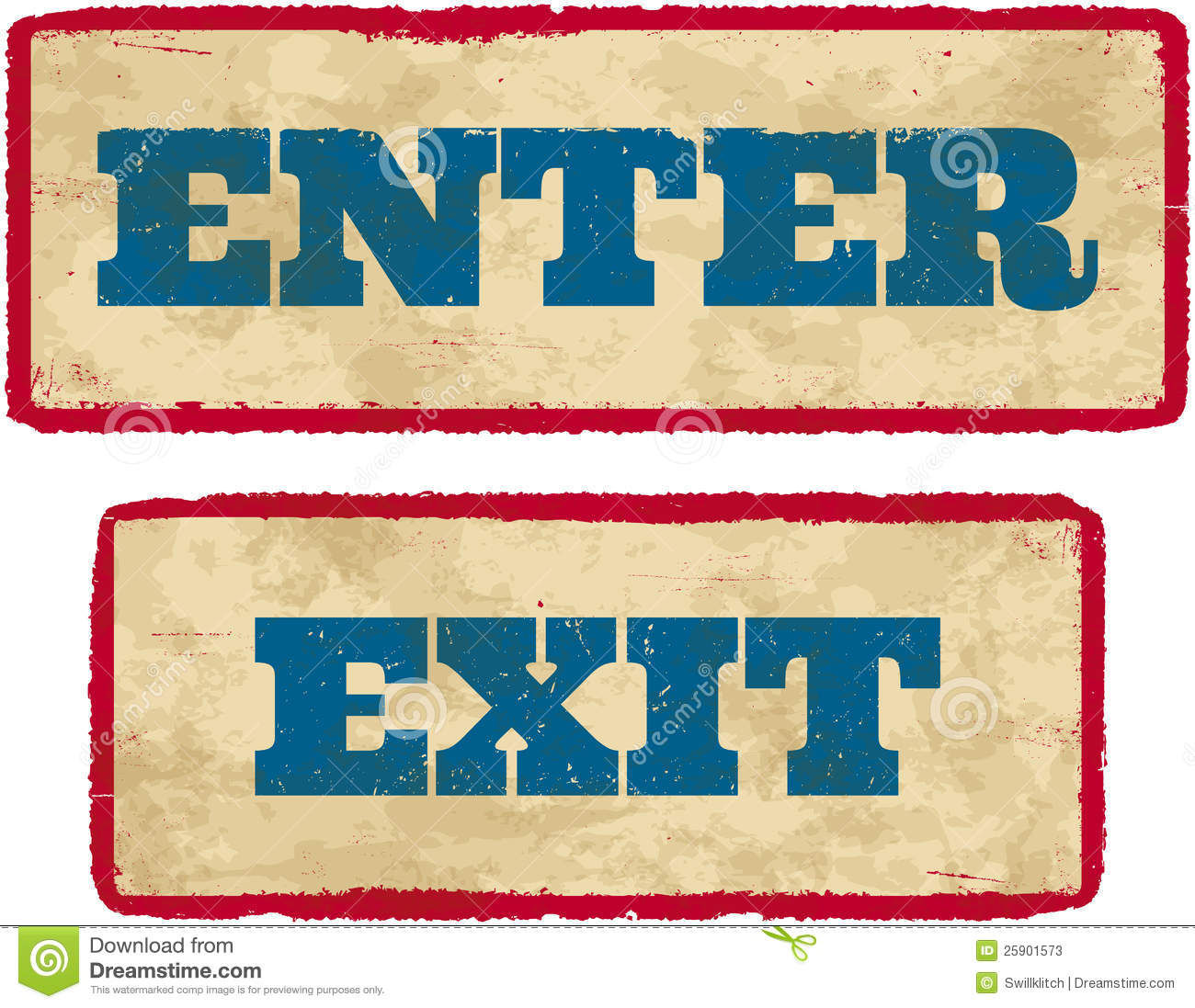 Aged enter and exit signs stock vector. Image of faded ...