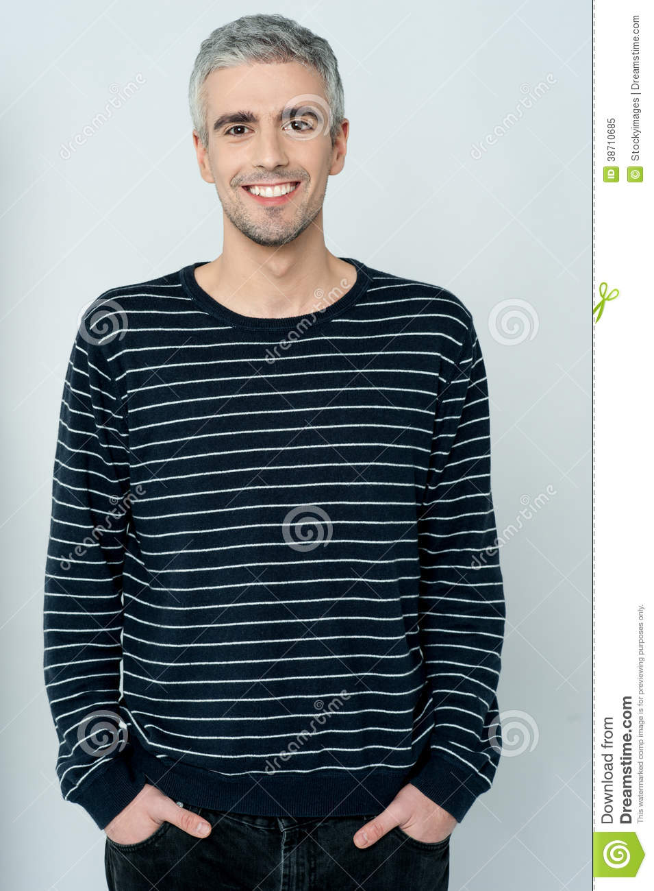 Aged happy smiling casual man