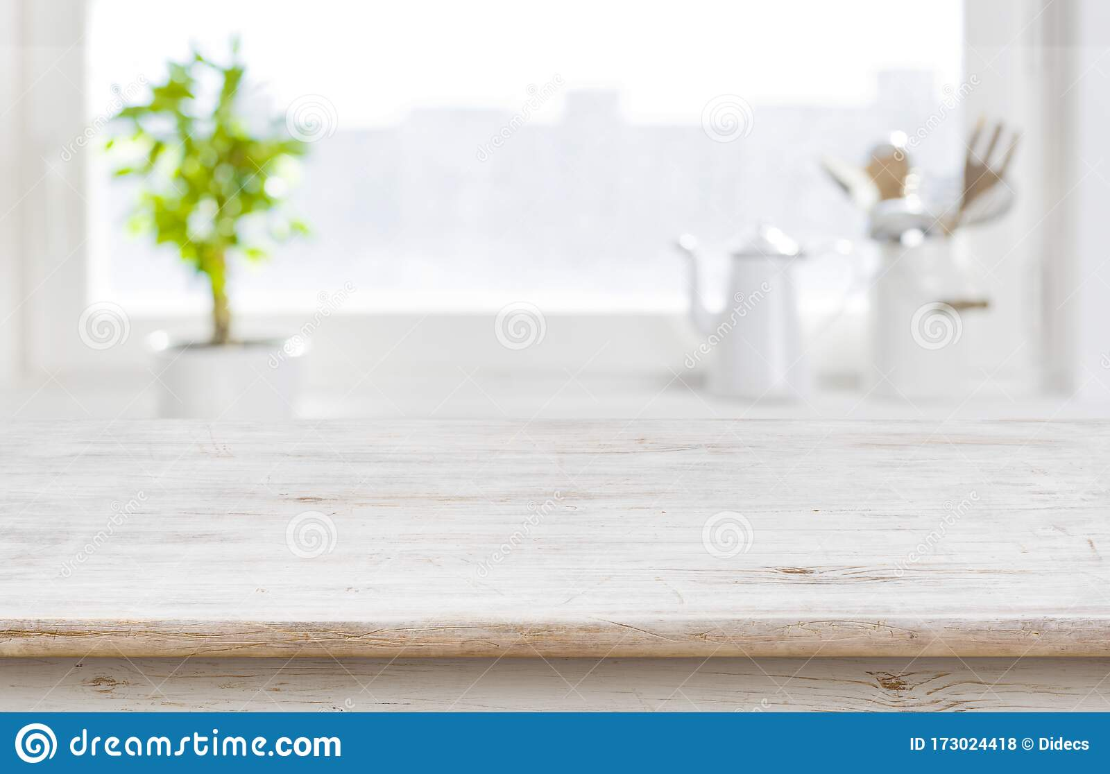 aged kitchen table top over window background with copy