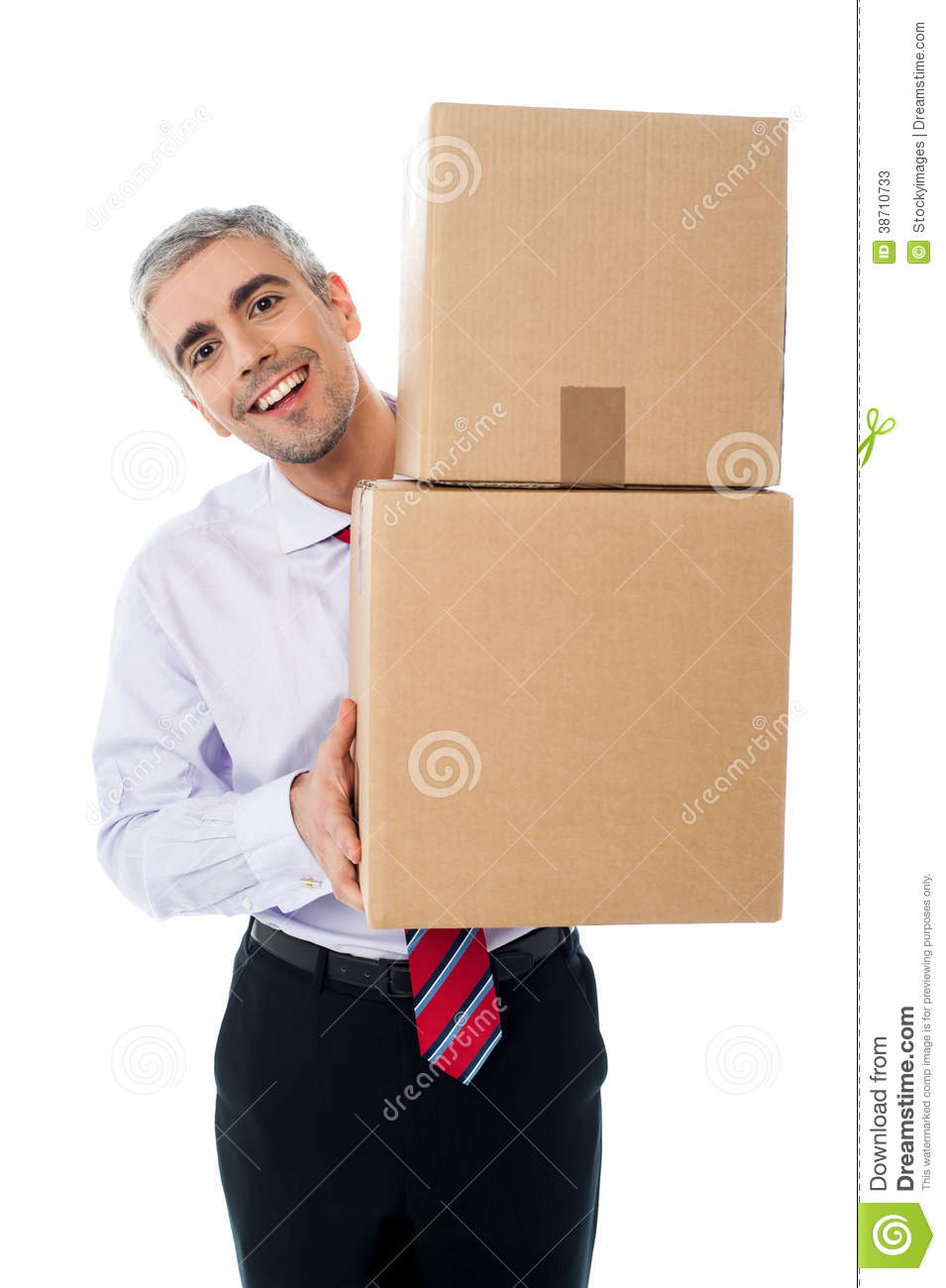 Aged man holding cardboard boxes
