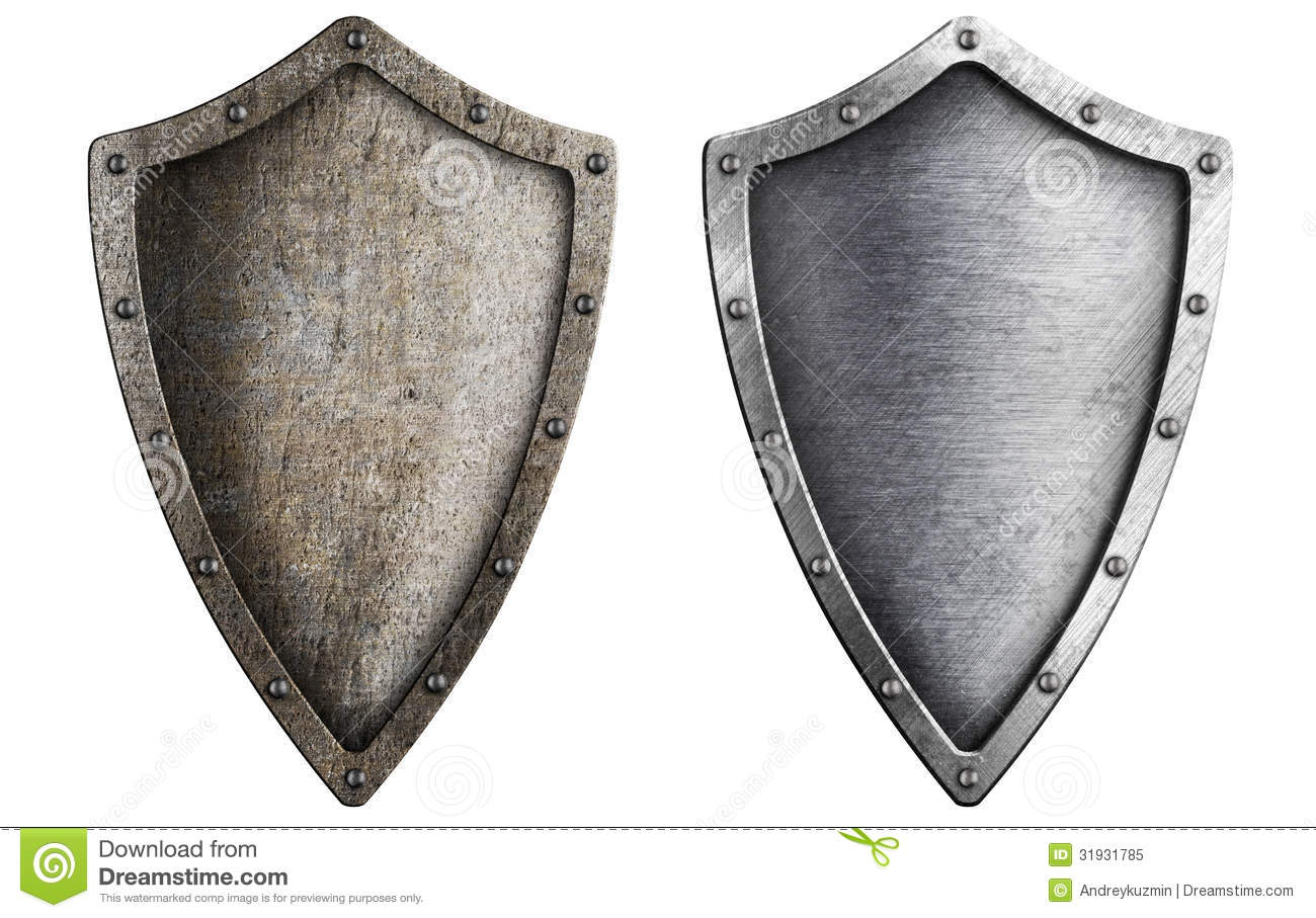 Aged Metal Shield Set Isolated Royalty Free Stock Photo - Image ...
