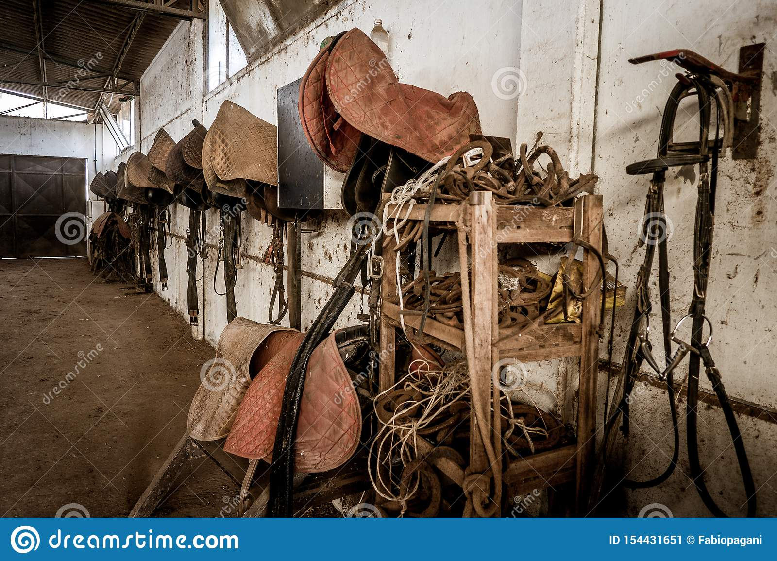 Aged Old Horse Barn Interior With Saddles Hanging On Wall Stock Image Image Of Objects Barn 154431651