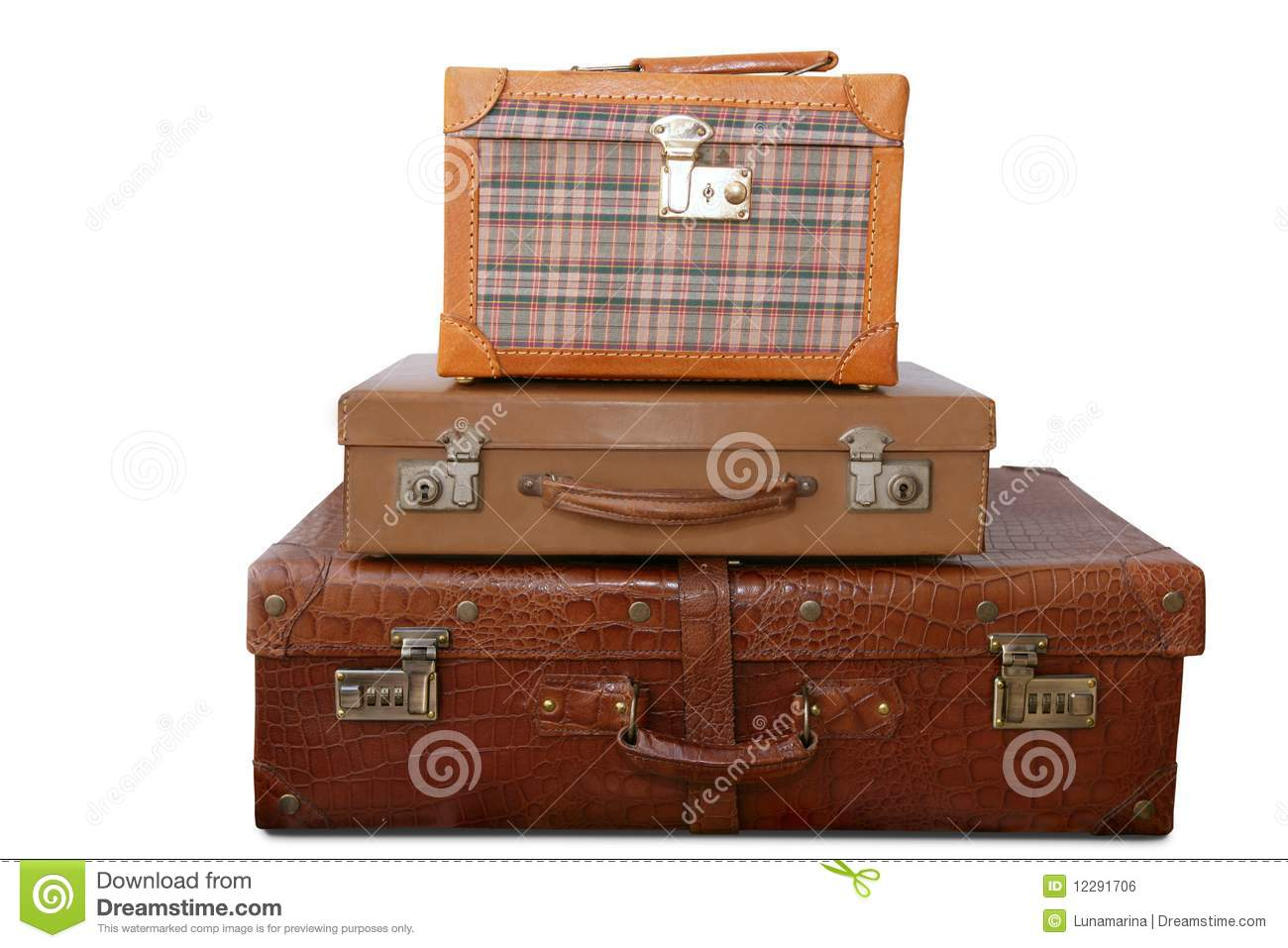 Aged Old Luggage Leather Vintage Bags Royalty Free Stock Image ...