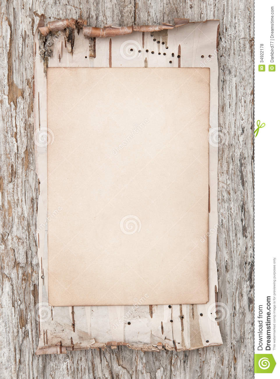 Aged Paper And Birch Bark On The Old Wood Stock Photo - Image of ...
