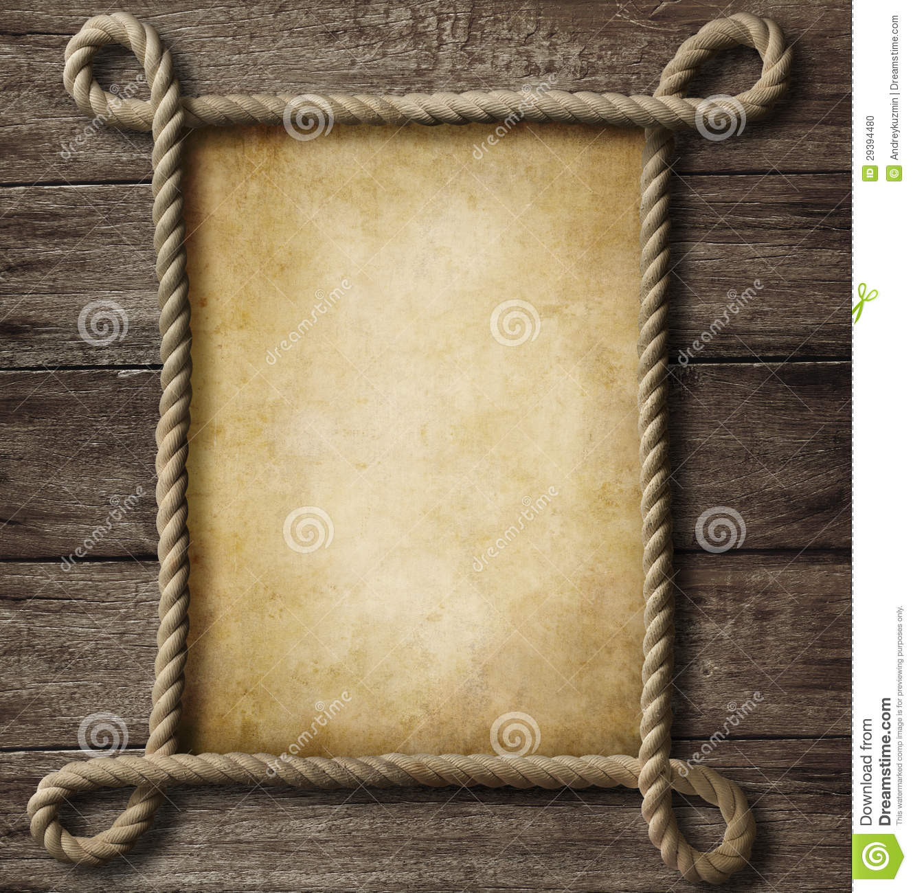 Aged paper with rope frame stock photo image 29394480 Rope photo frame