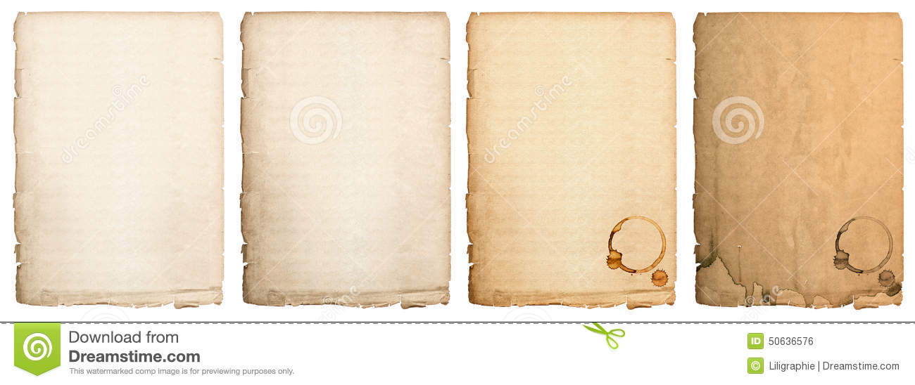 aged paper sheet isolated on white background  used book