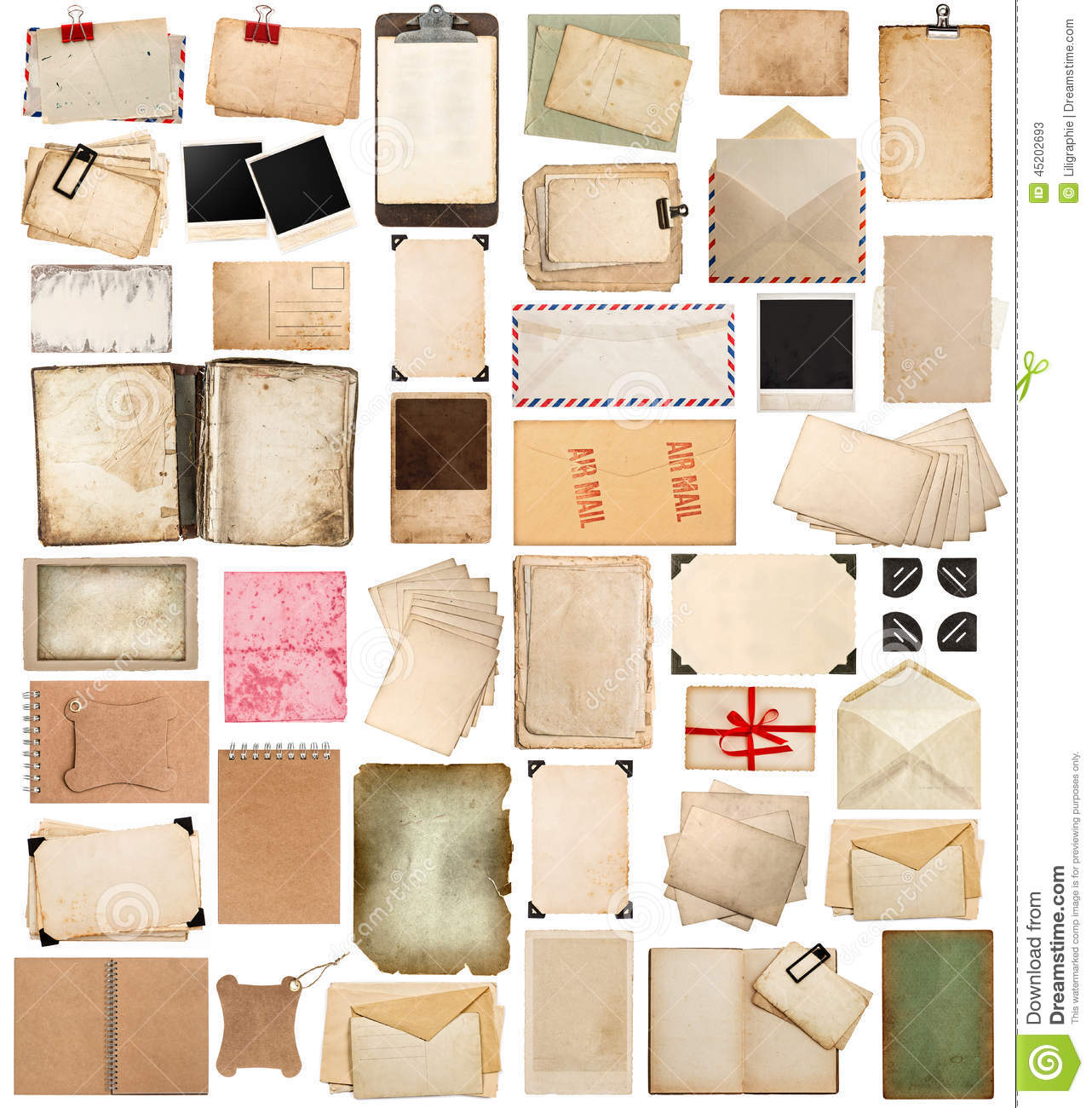 aged paper sheets books pages and old postcards isolated on wh
