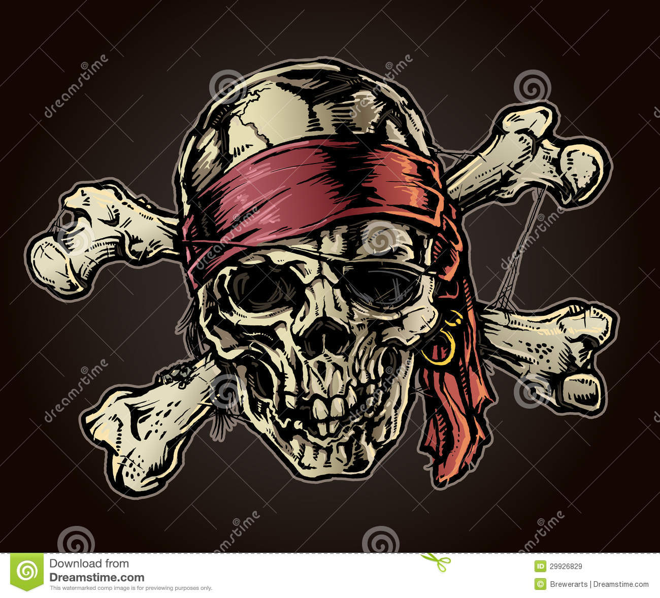 pirate skull with bandana royalty free stock images image 29926829