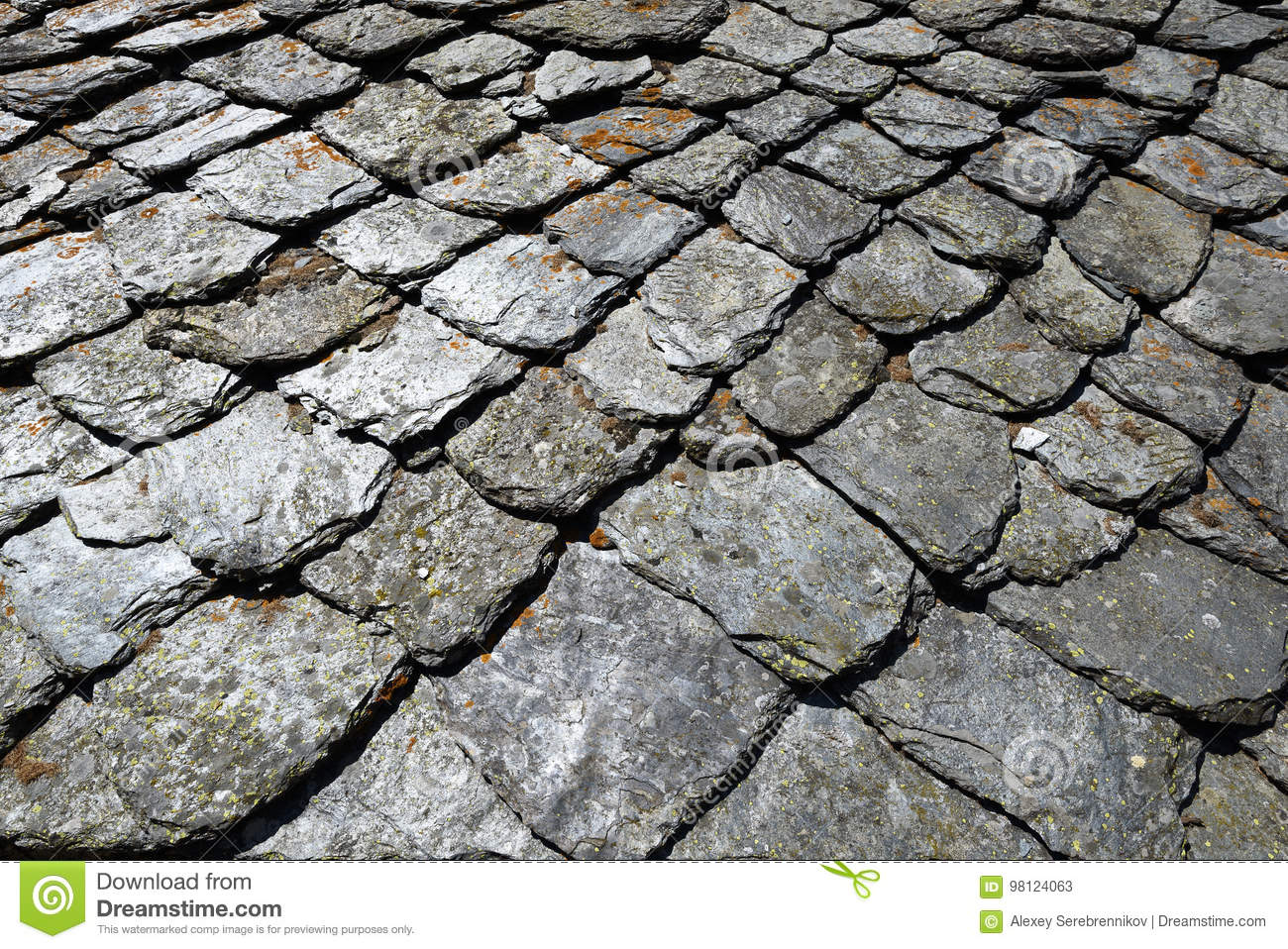 Aged Slate Roof Tiles Close-up Stock Image - Image of
