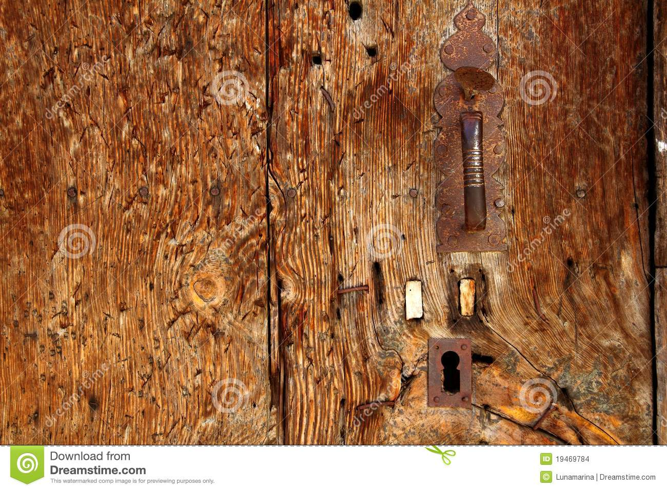 Aged Wood Door Grunge Texture Rusty Handle Stock Photo