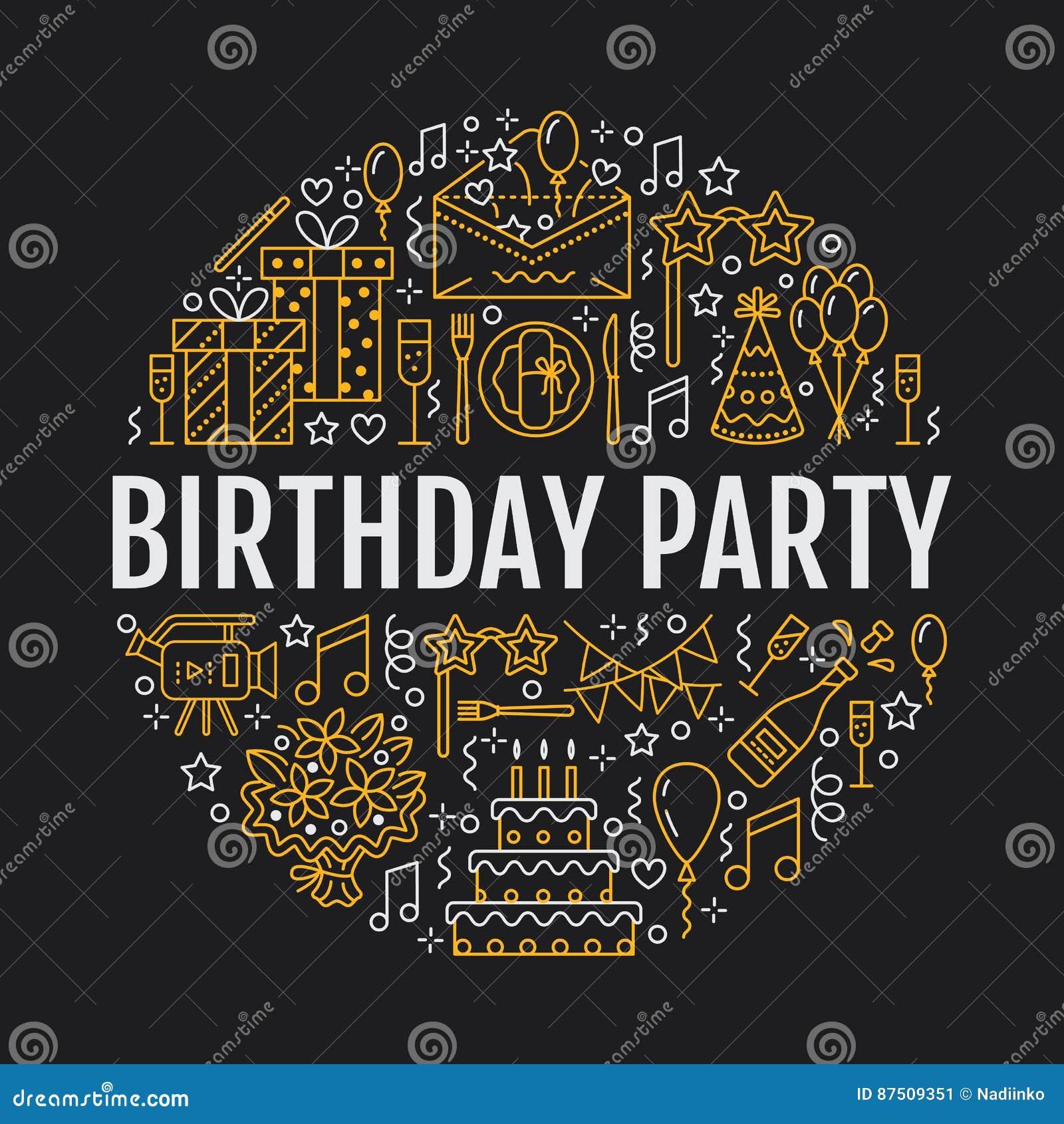 Agencia del evento, bandera de la fiesta de cumpleaños con la línea icono de abastecimiento, torta de cumpleaños, decoración del